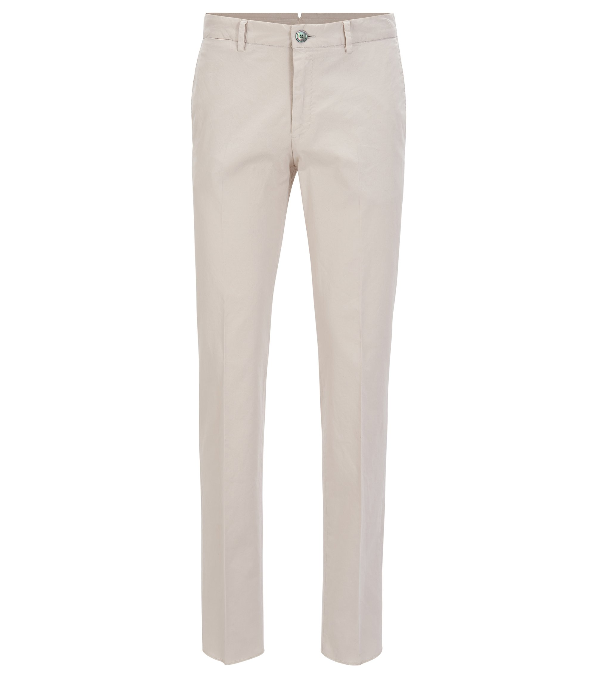 Slim-fit broek van garment-dyed stretchkatoen, Naturel