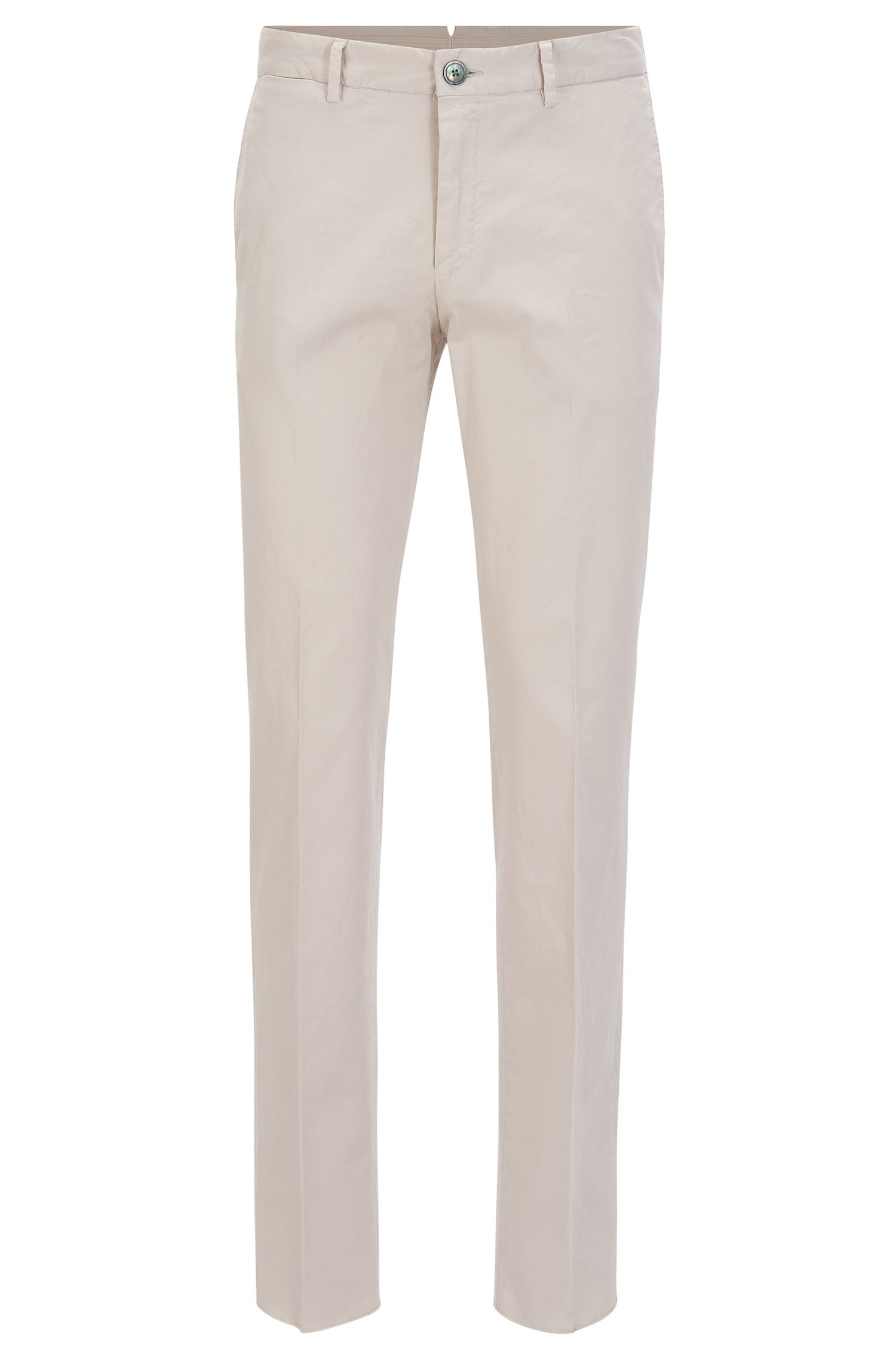 Pantalon Slim Fit en coton stretch teint en pièce