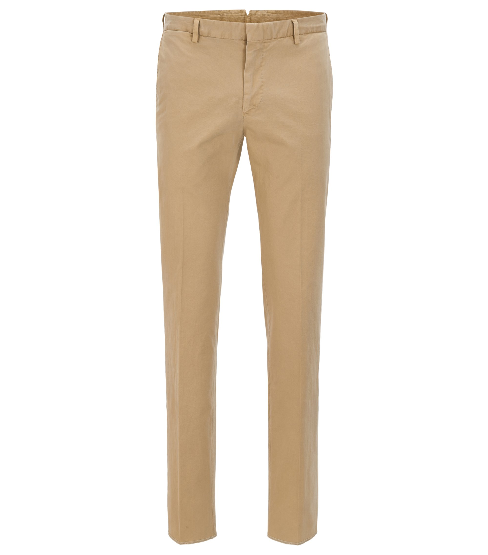 Pantalon Slim Fit en coton stretch teint en pièce, Beige