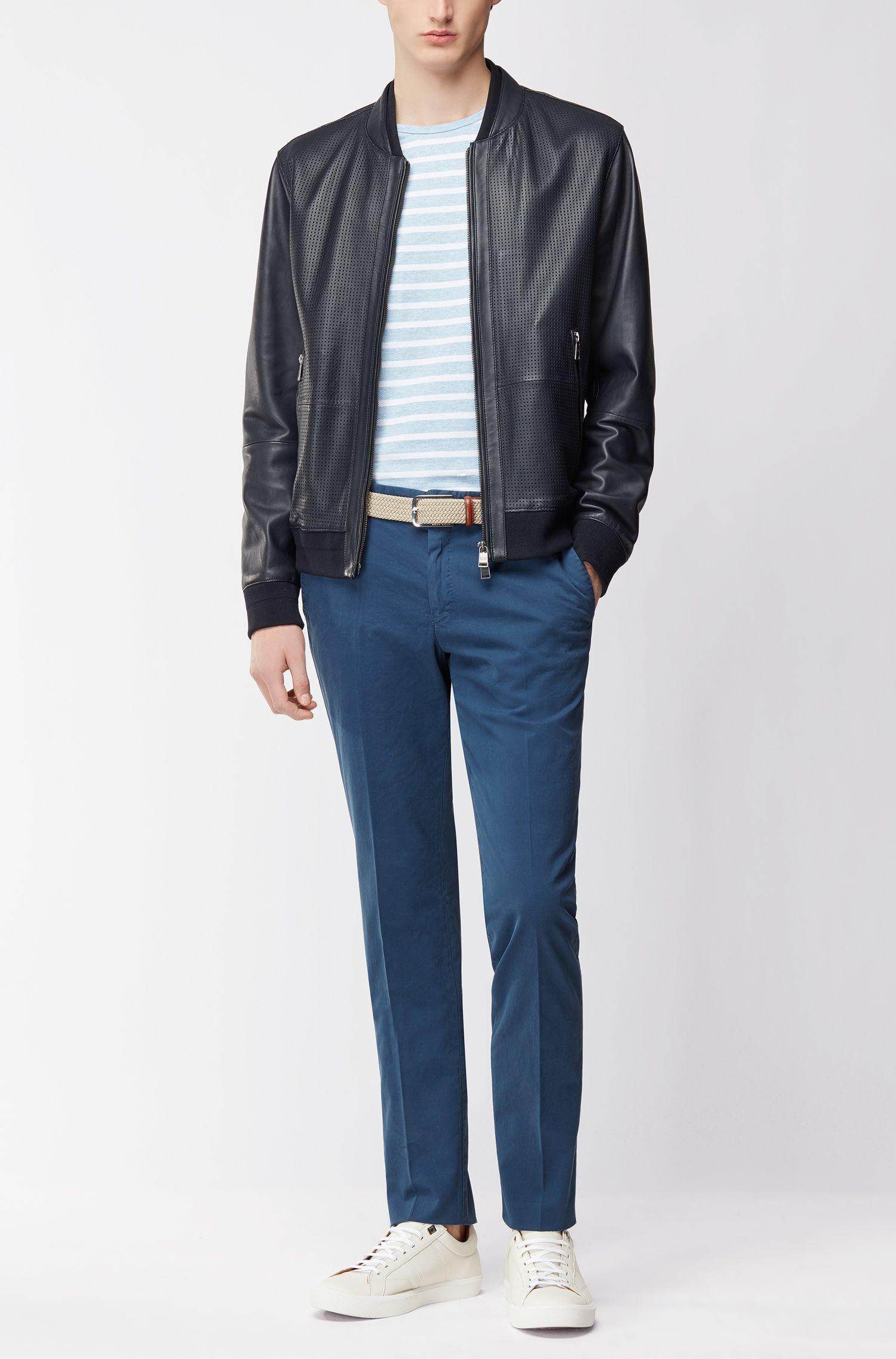 Stückgefärbte Slim-Fit Hose aus Stretch-Baumwolle