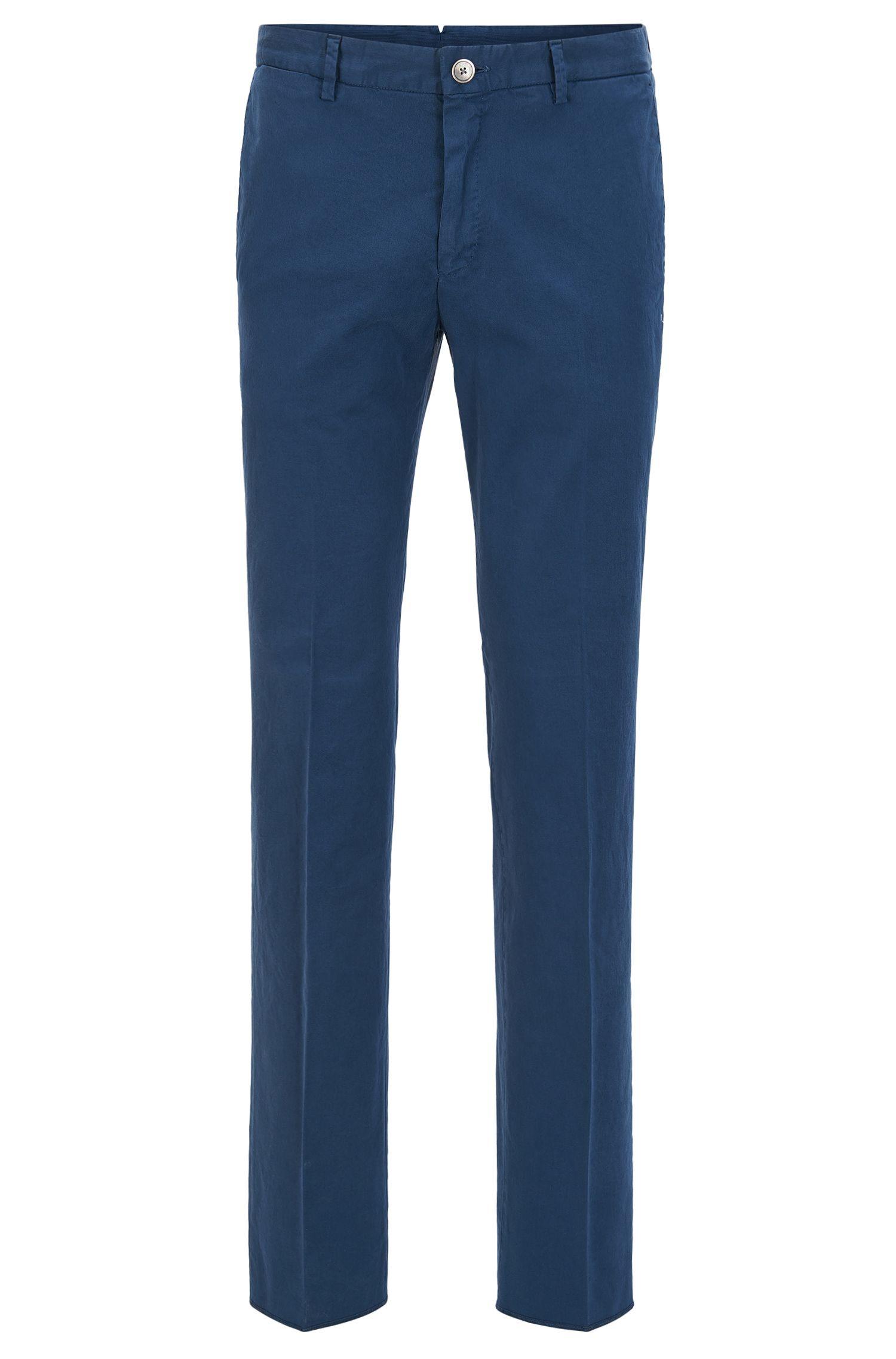 Pantalones slim fit de algodón elástico teñido en prenda