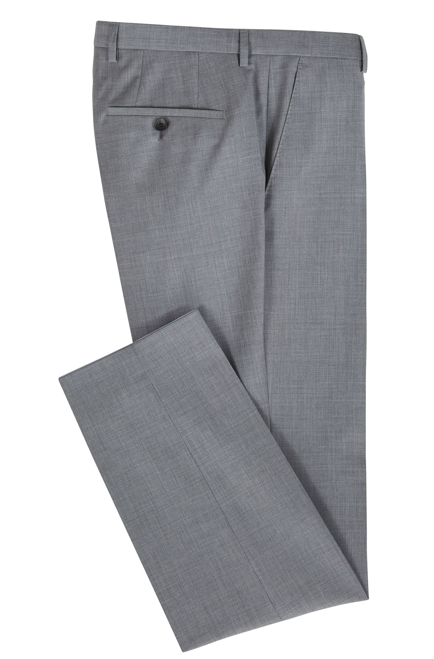 Regular-fit tailored trousers in virgin wool, Grey