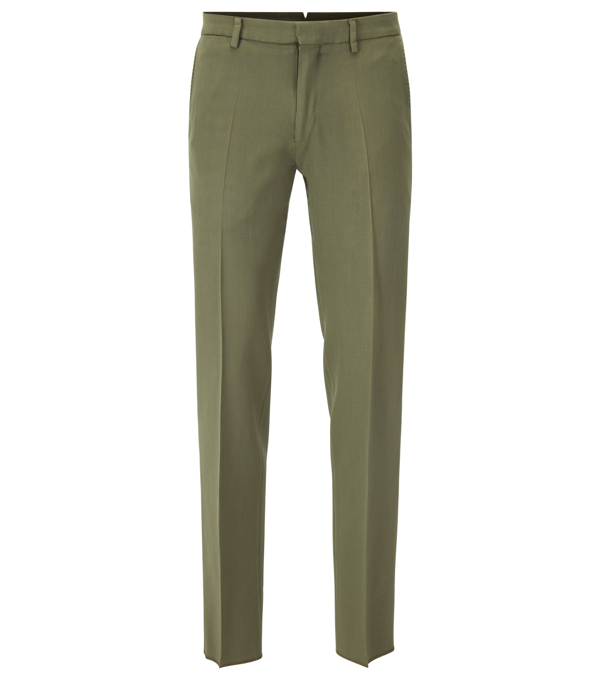 Slim-fit garment-dyed trousers in virgin wool, Open Green