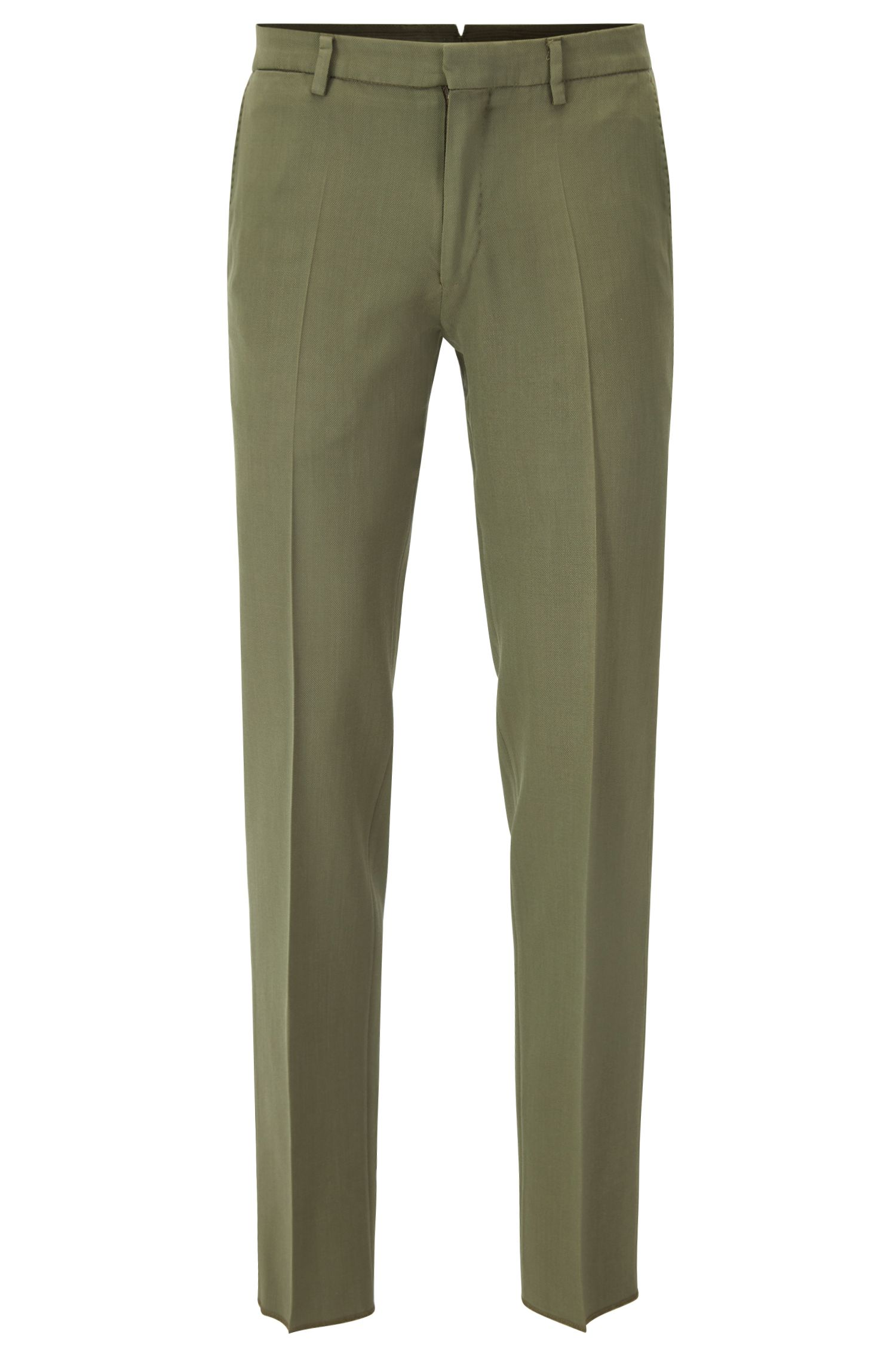 Slim-fit garment-dyed trousers in virgin wool