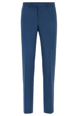Regular-Fit Hose aus Schurwolle, Blau