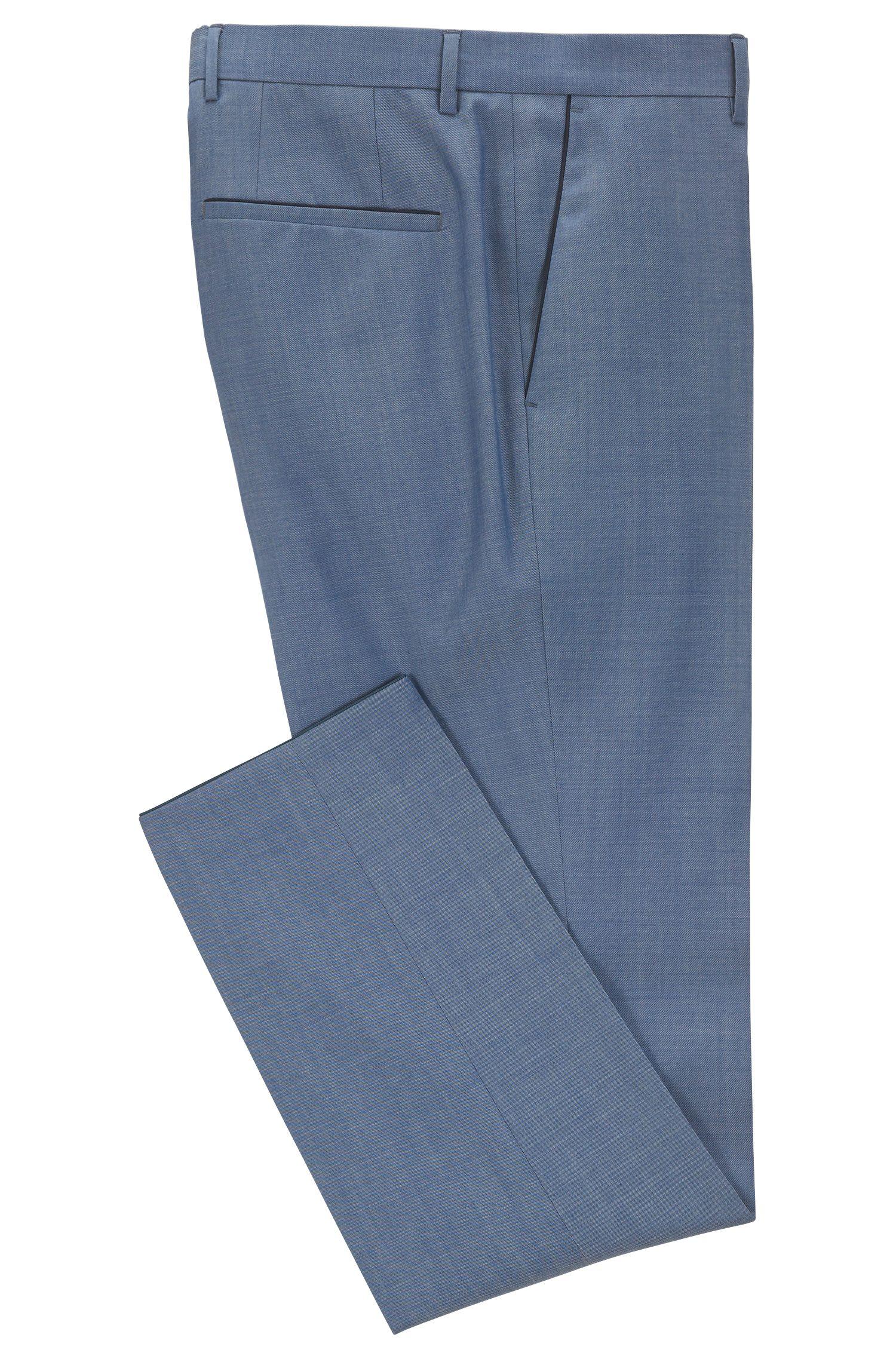 Pantalones slim fit en lana virgen con aspecto de mohair
