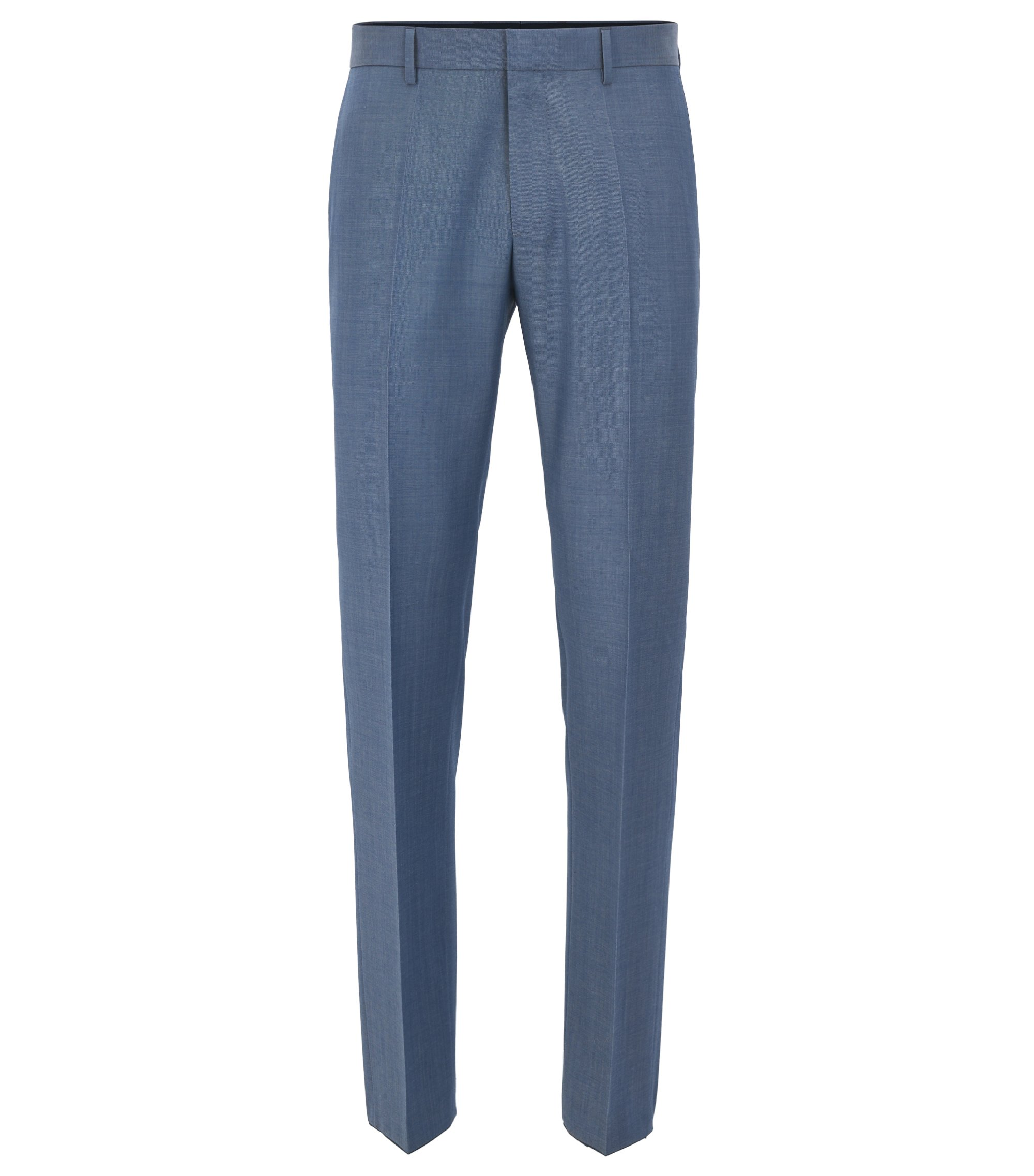 Slim-fit pantalon van scheerwol in mohairlook , Blauw