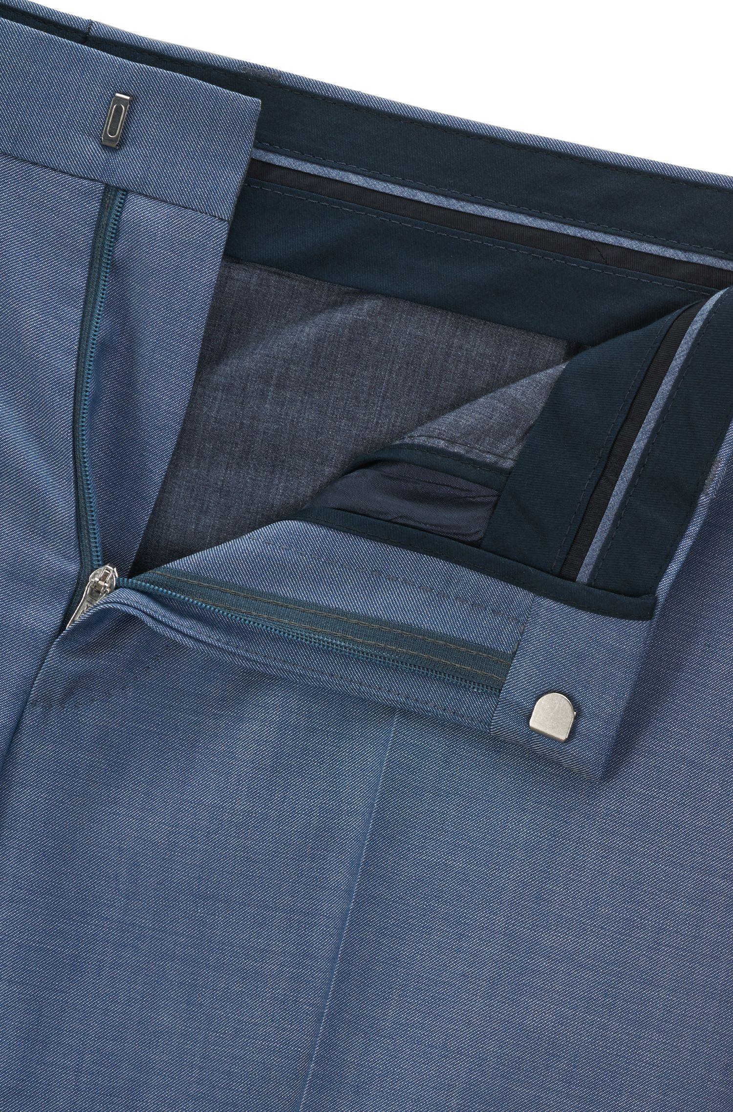 Pantaloni slim fit in lana vergine effetto mohair