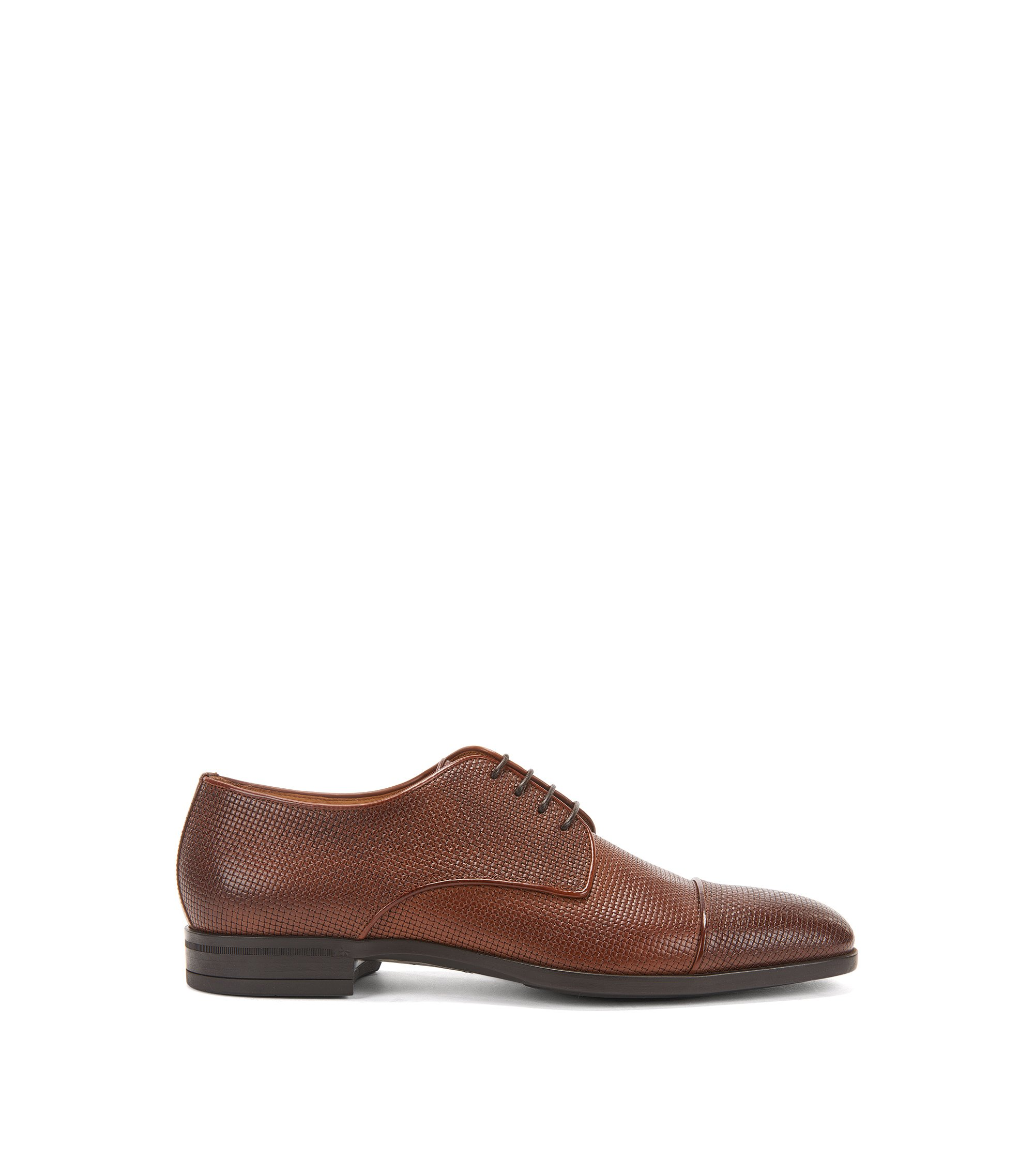 Derby shoes in embossed leather, Brown