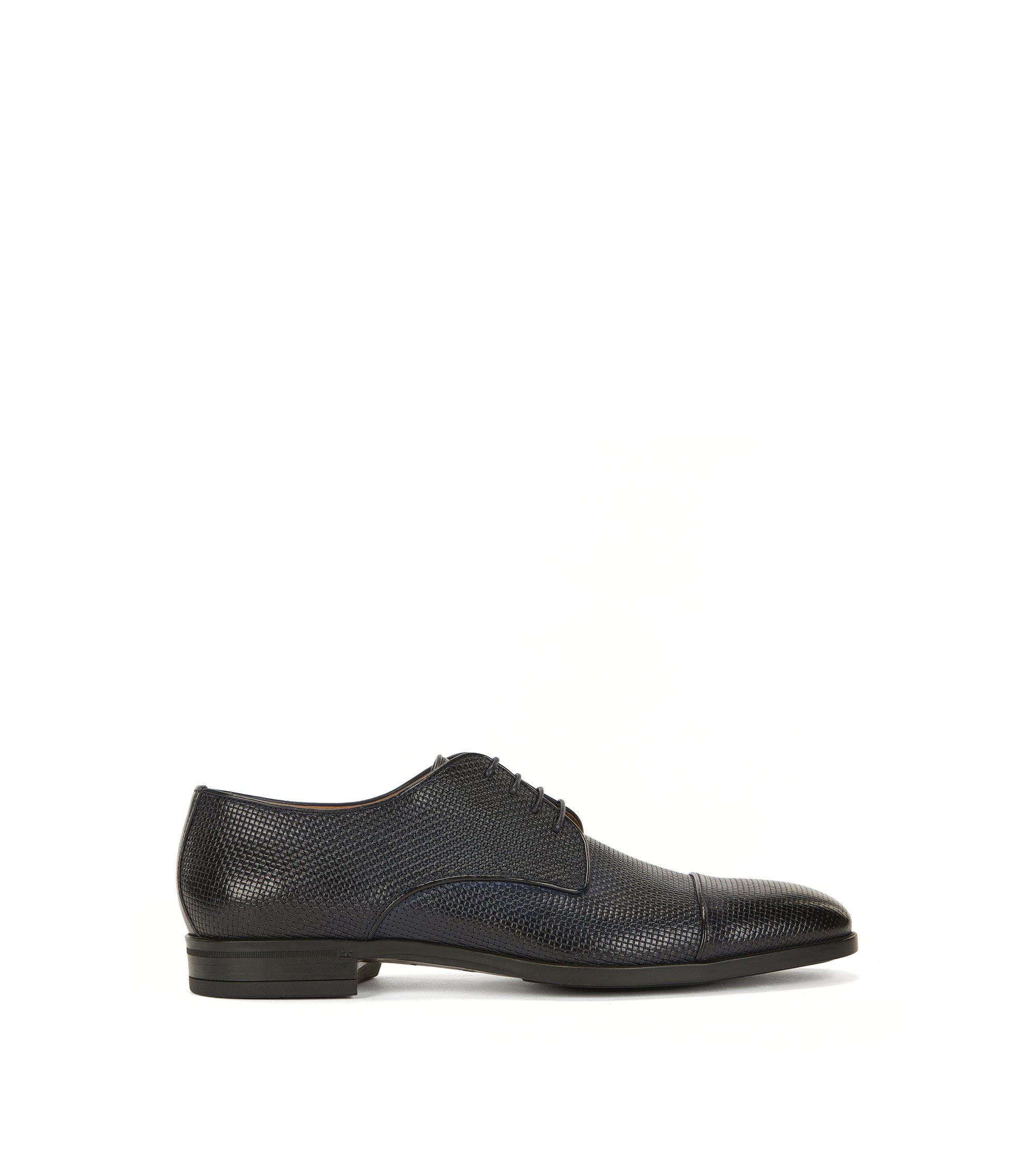 Derby shoes in embossed leather, Dark Blue