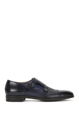 Double-monk shoes in plain and embossed leather, Dark Blue