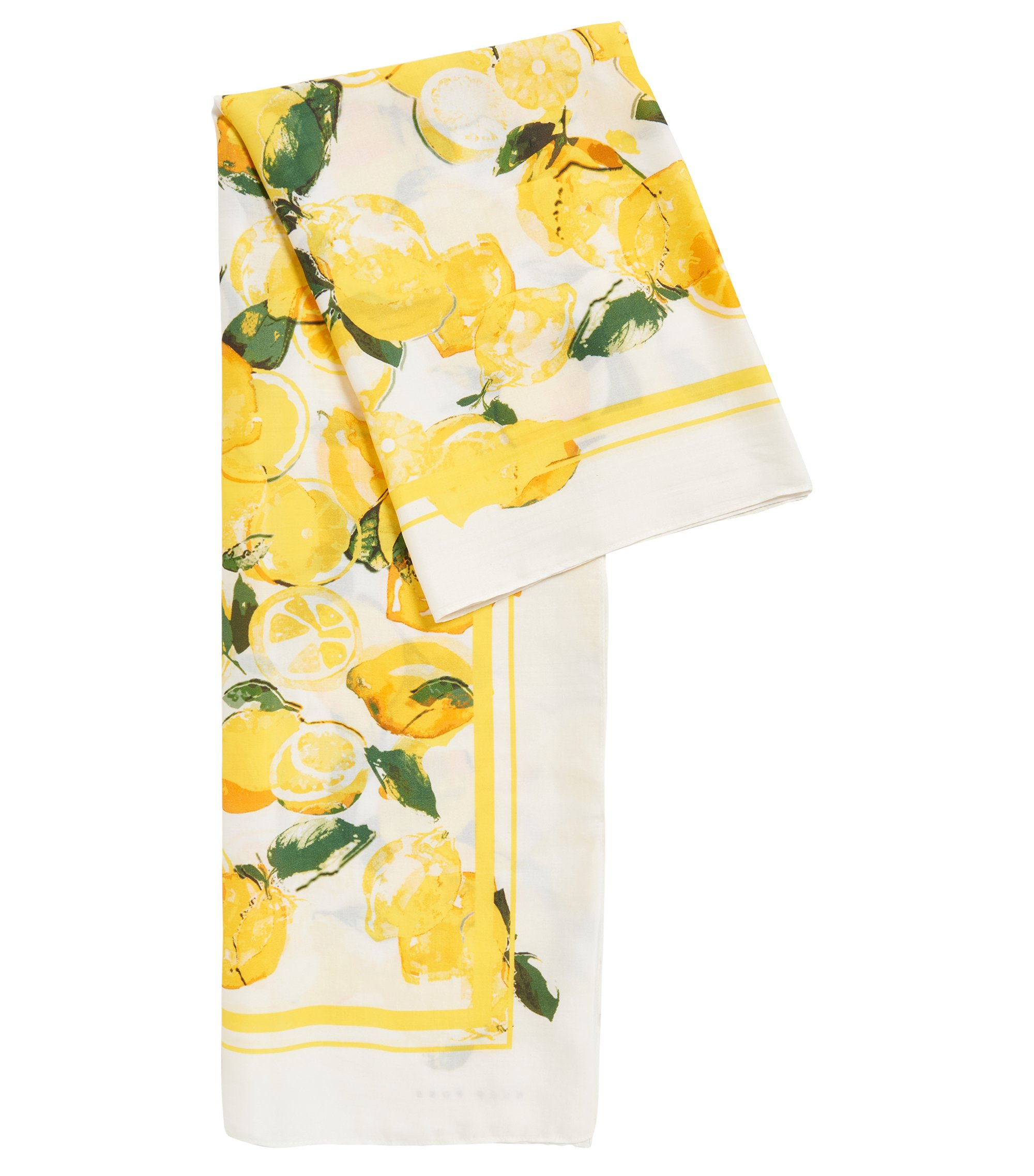 Silk-blend scarf with lemon print, Patterned
