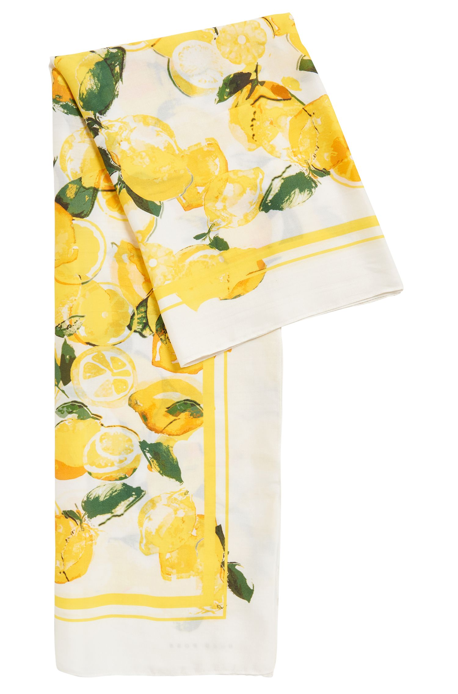 Silk-blend scarf with lemon print