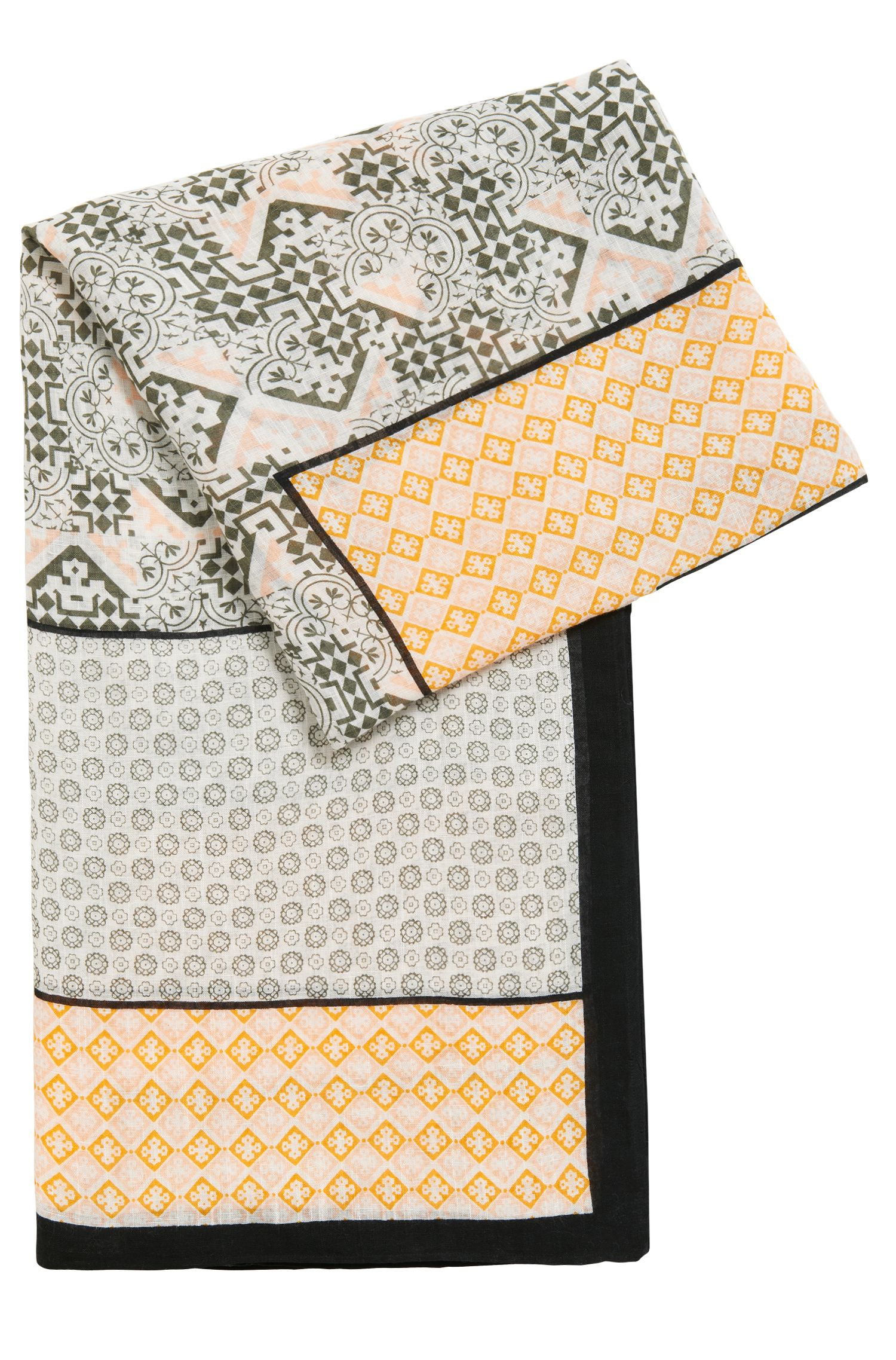 Linen-blend scarf with multi-pattern print, Patterned