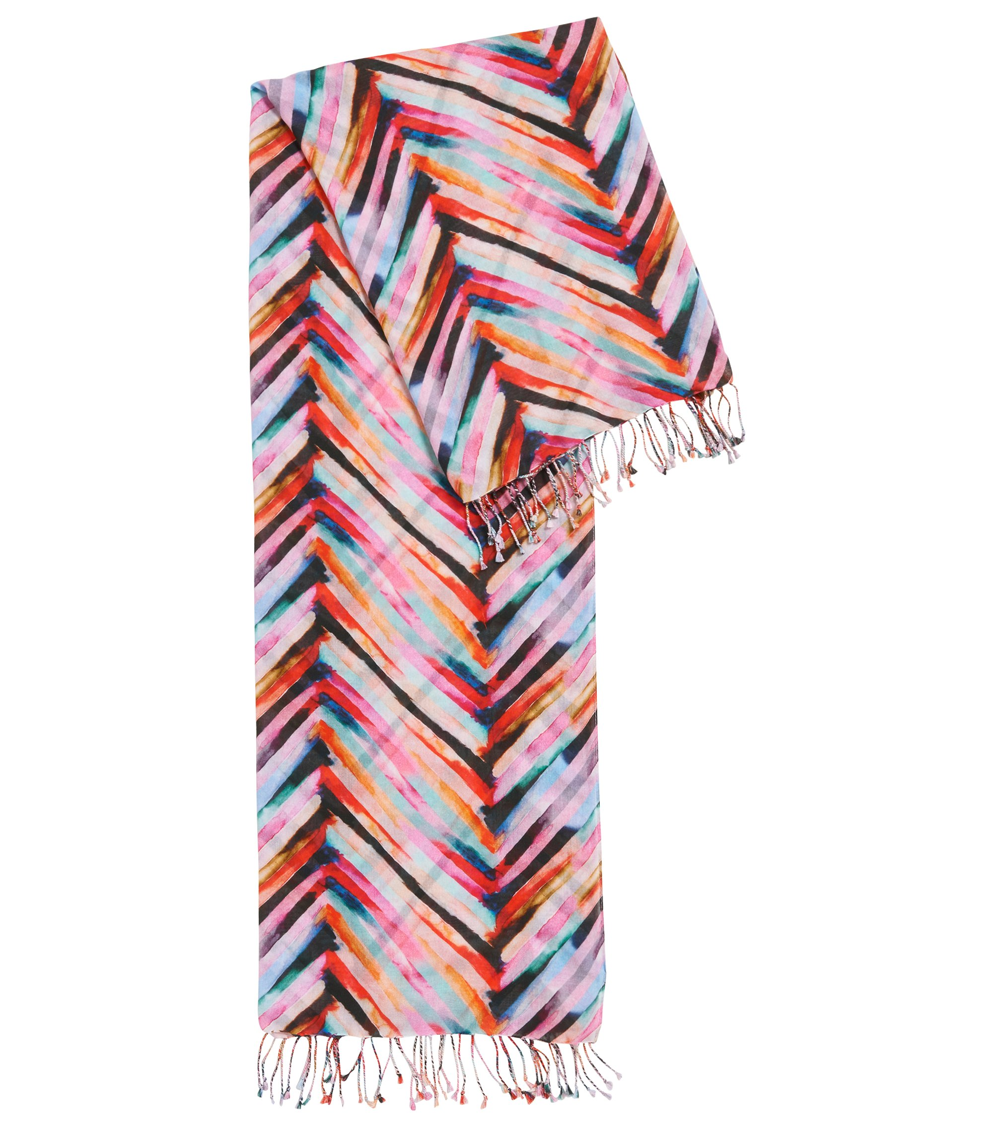 Multi-coloured striped scarf in a lightweight cotton blend, Patterned