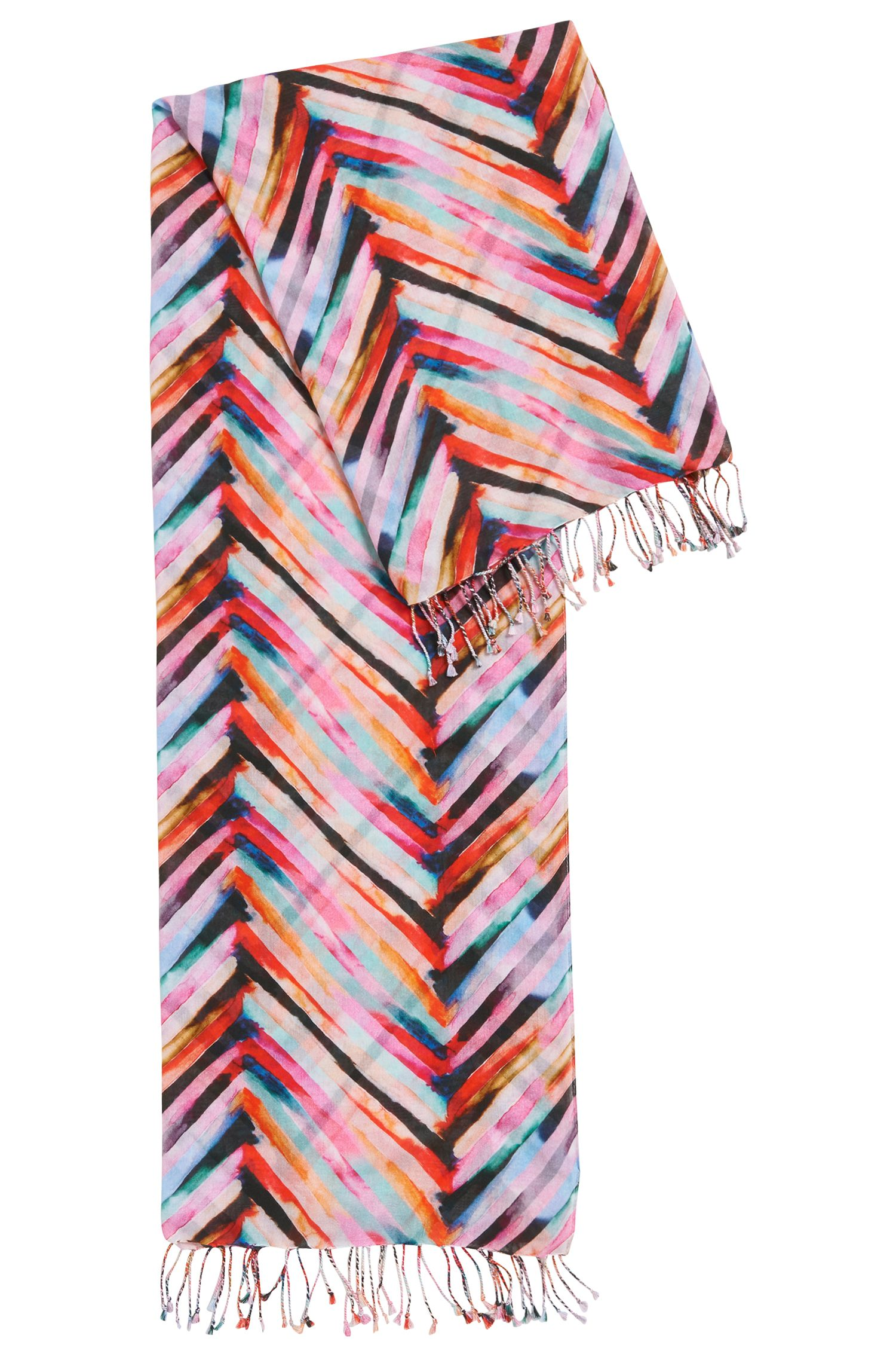 Multi-coloured striped scarf in a lightweight cotton blend