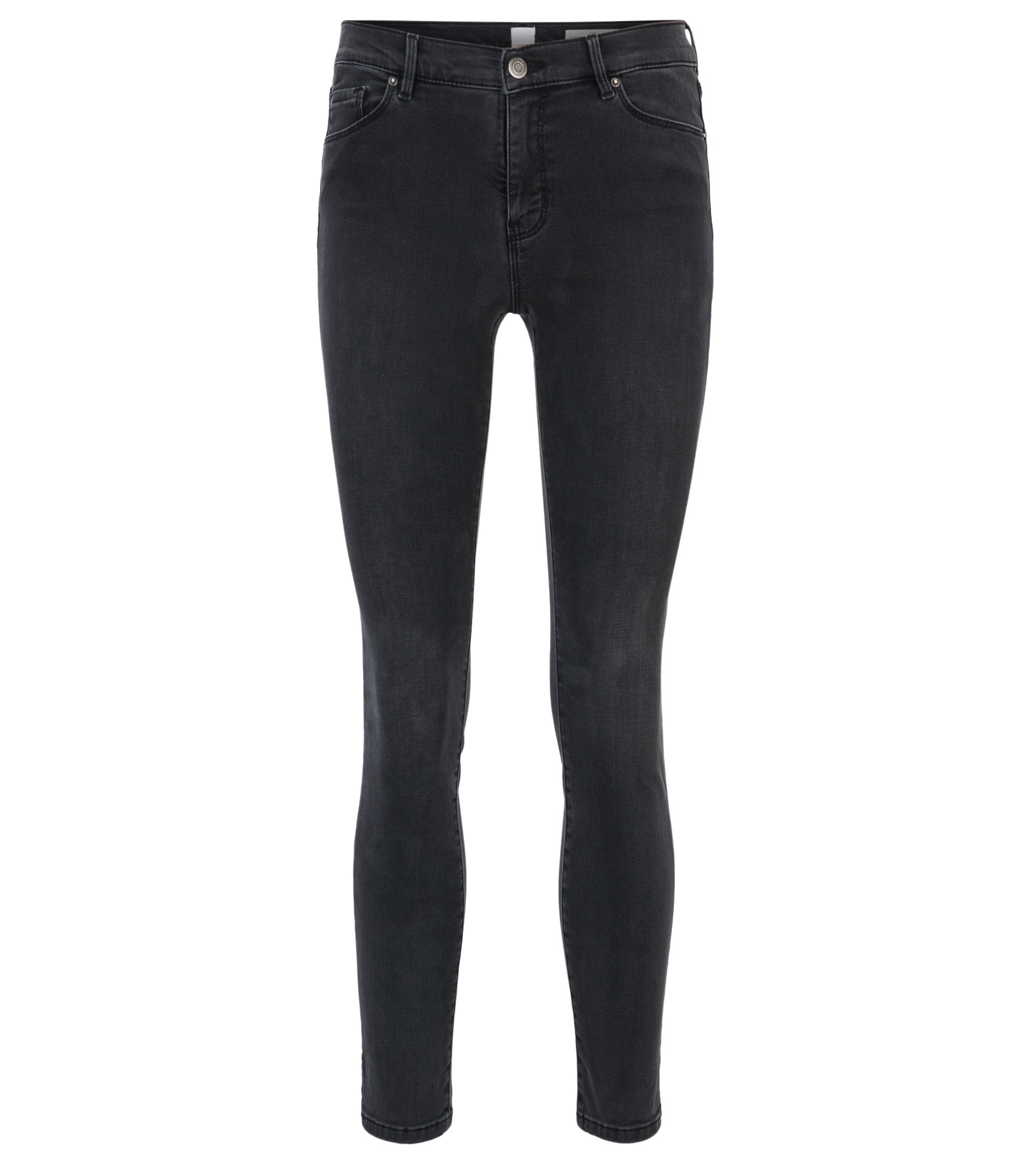 Skinny-fit cropped jeans in power-stretch denim, Anthracite