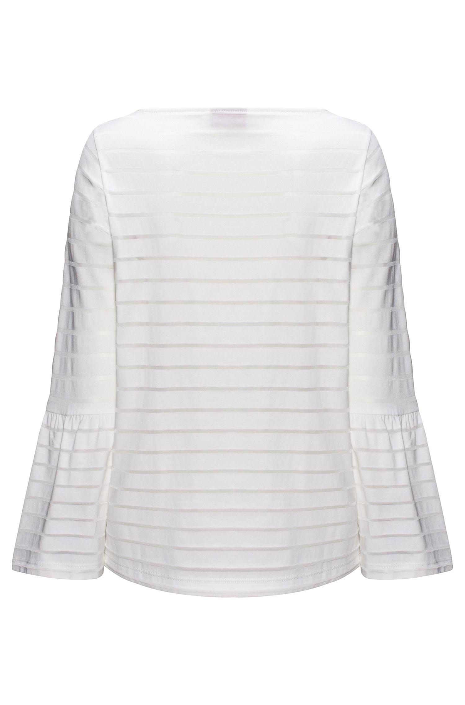 Cotton-blend T-shirt with tonal horizontal stripe
