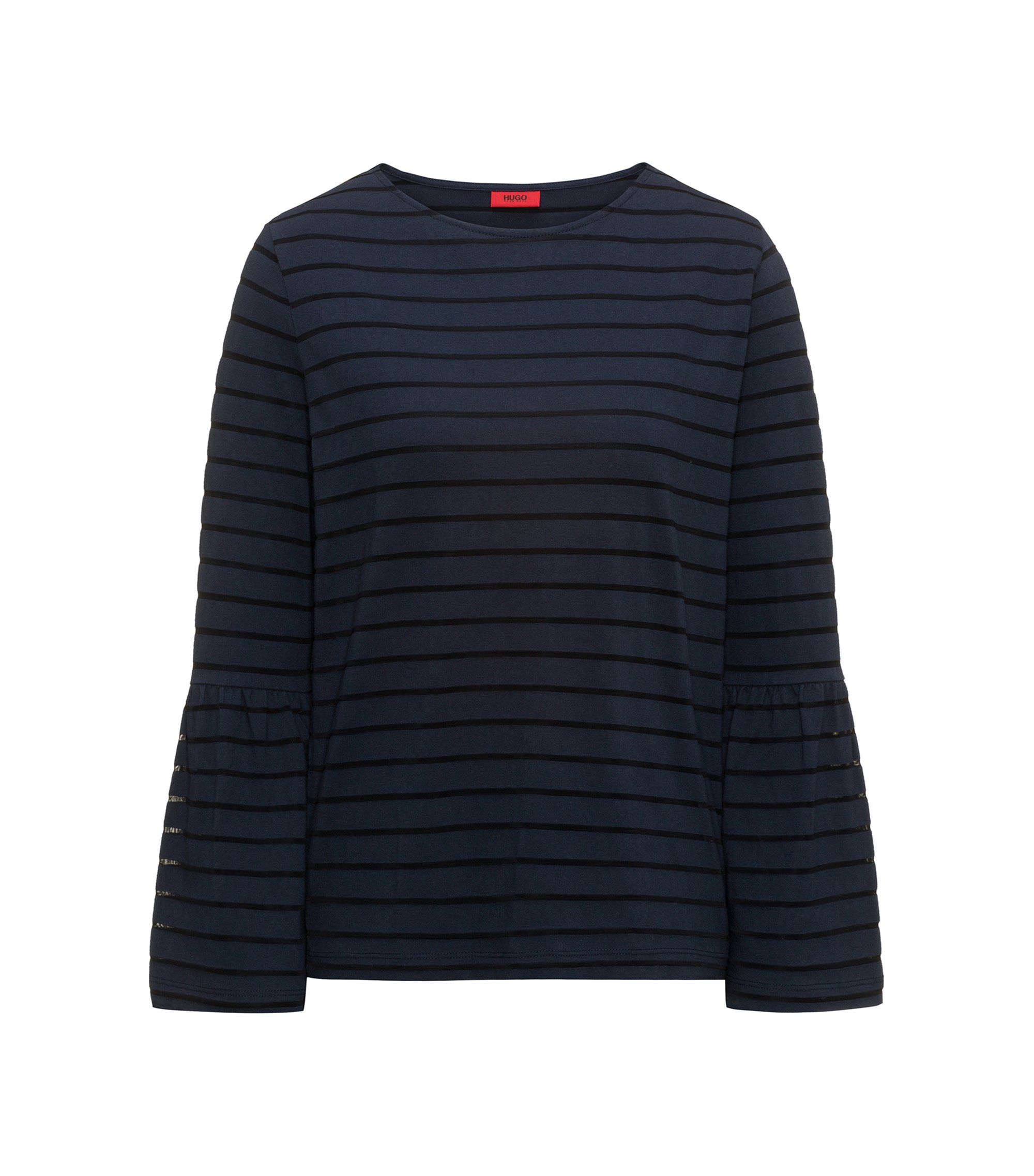 Cotton-blend T-shirt with tonal horizontal stripe, Dark Blue