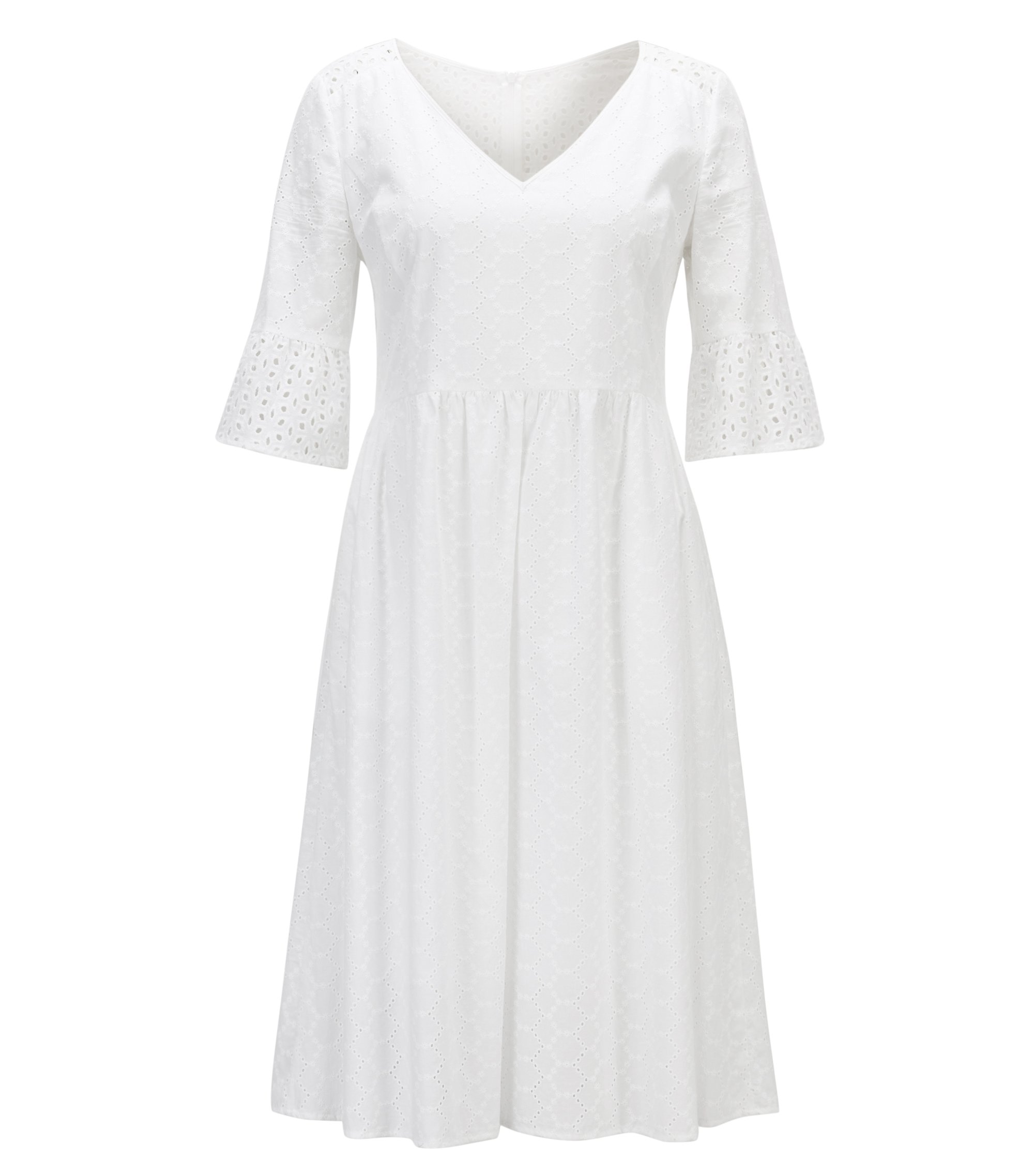Cotton-voile waisted dress in broderie anglaise, White