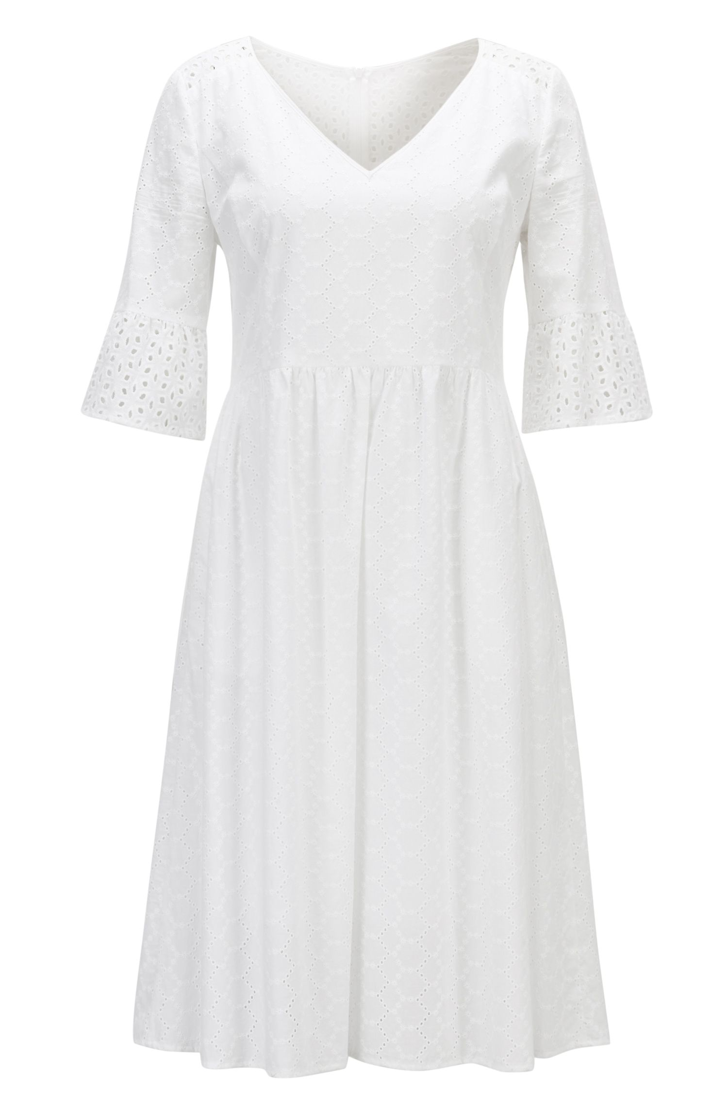 Cotton-voile waisted dress in broderie anglaise
