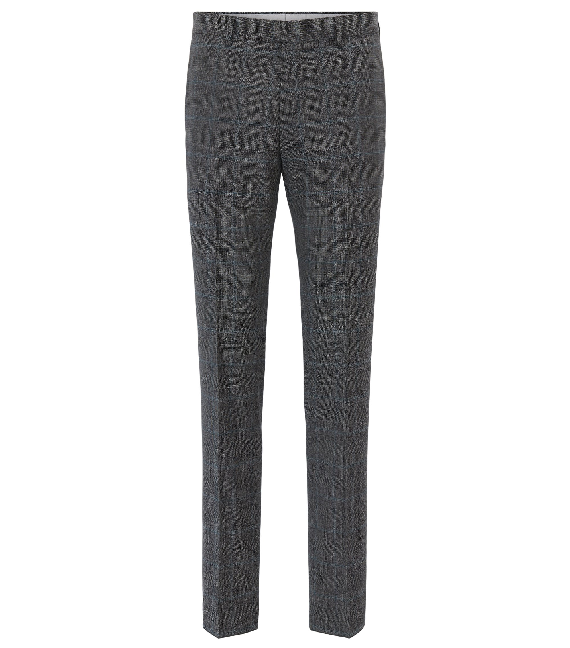 Slim-fit trousers in checked virgin wool, Dark Grey
