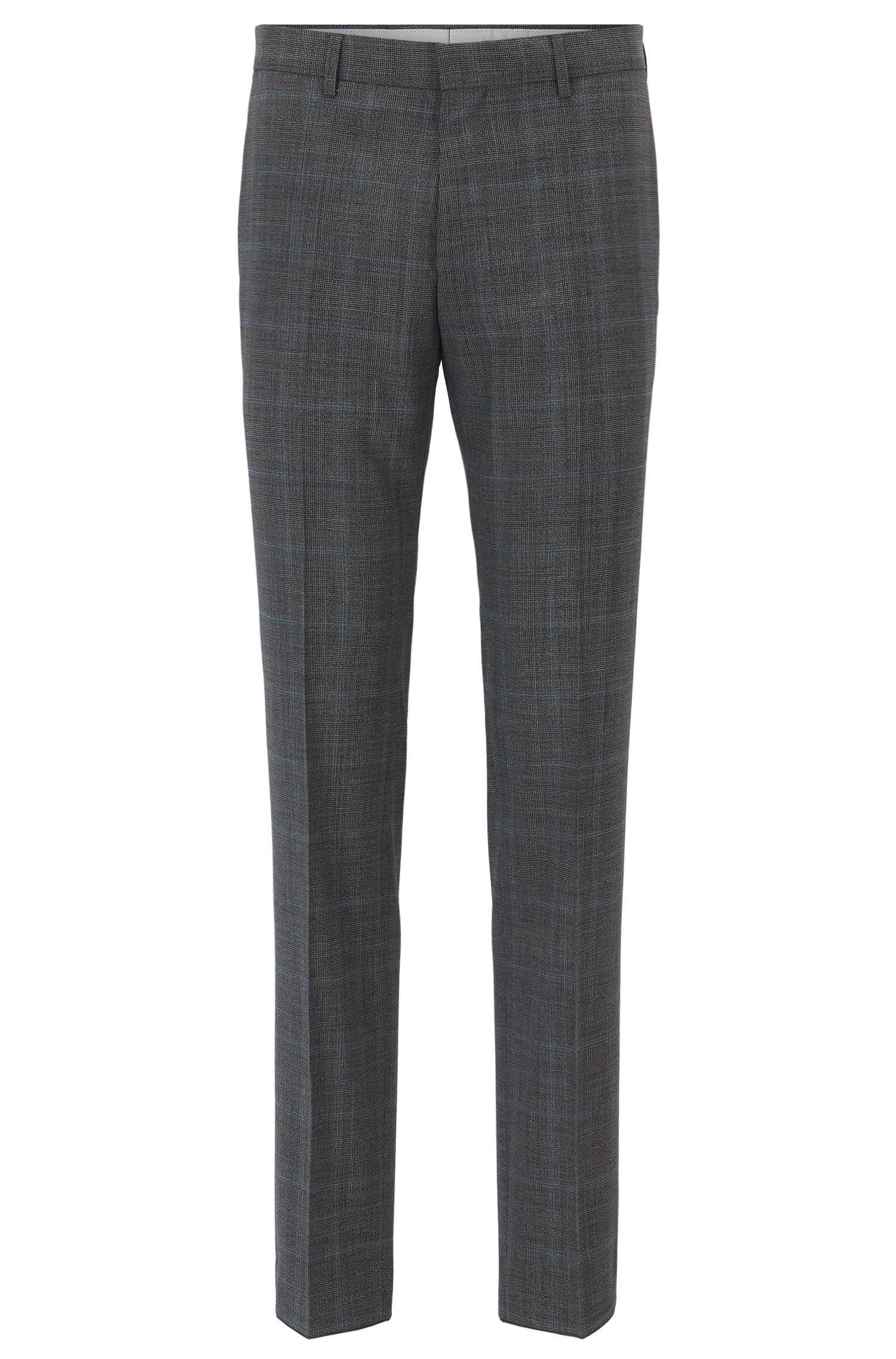 Slim-fit trousers in checked virgin wool