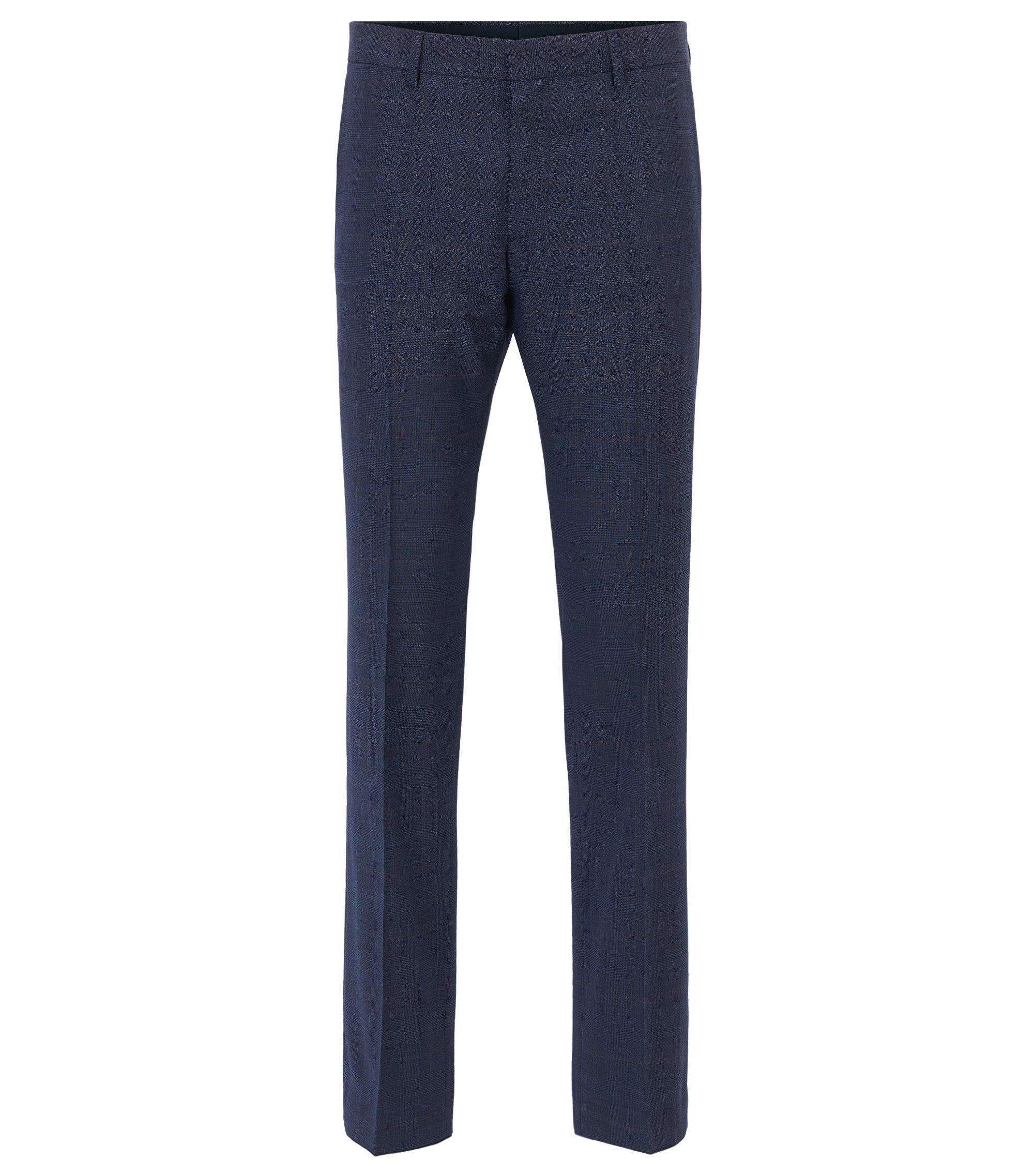 Pantalones a cuadros slim fit en lana virgen, Azul oscuro