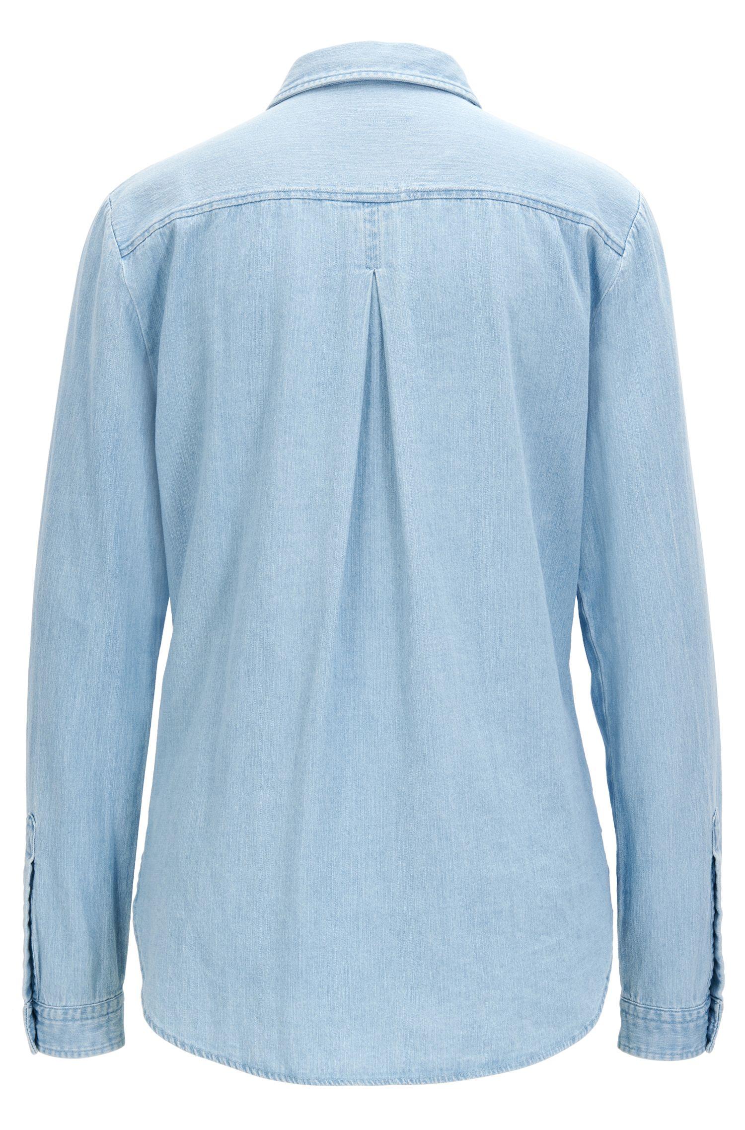 Regular-fit denim shirt with bleach wash