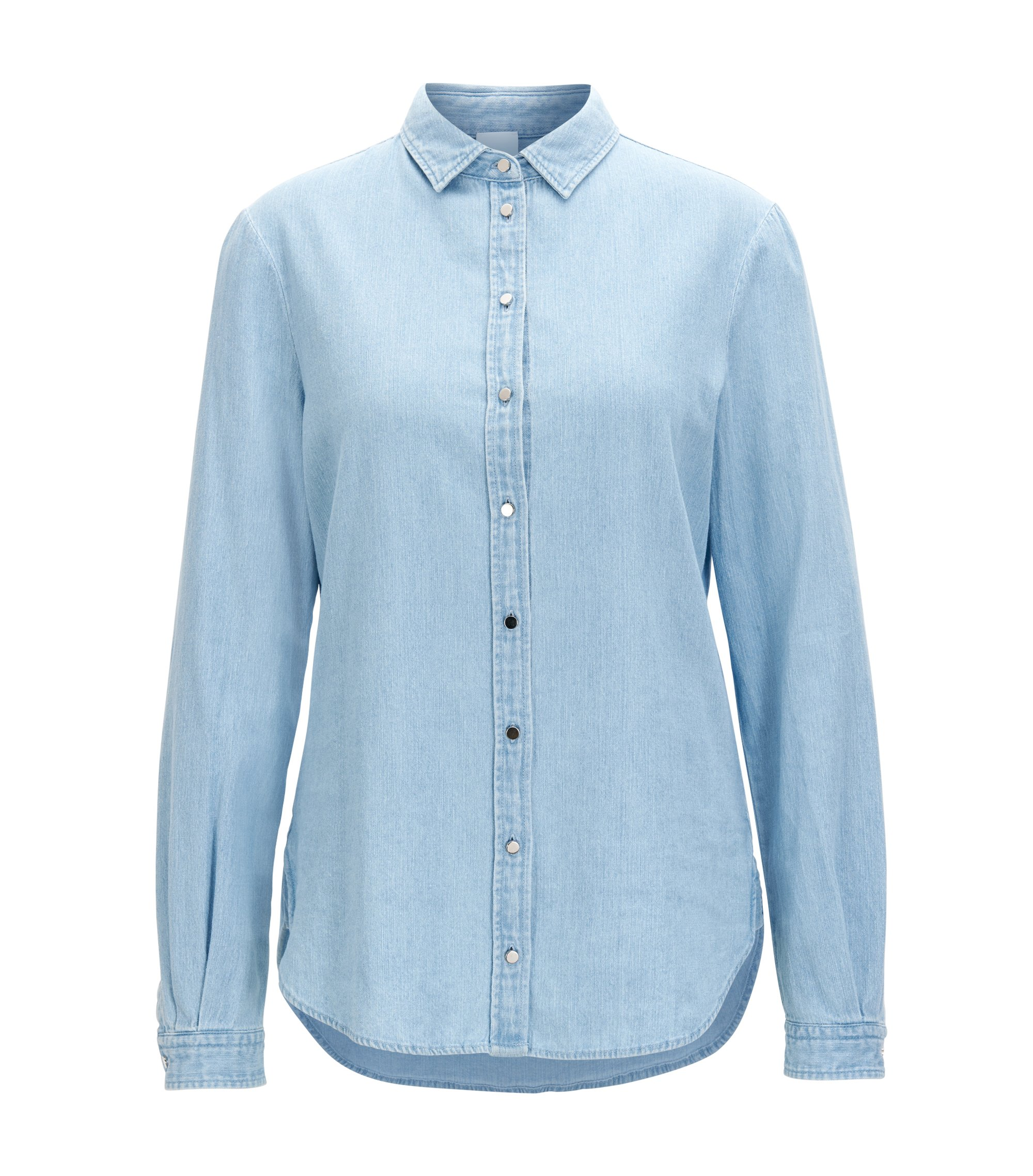 Regular-fit denim shirt with bleach wash, Light Blue