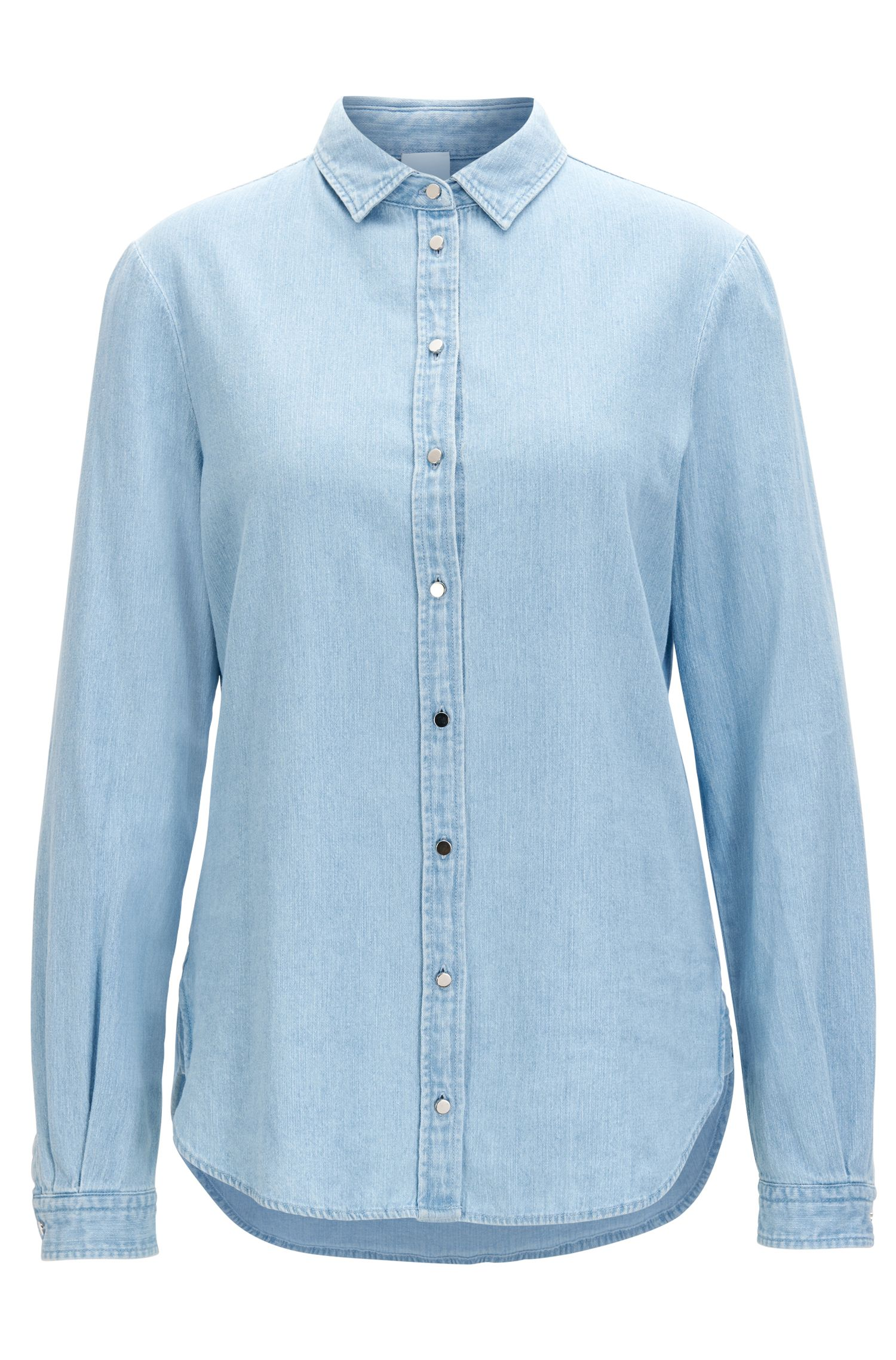 Regular-fit denimblouse met bleekwassing