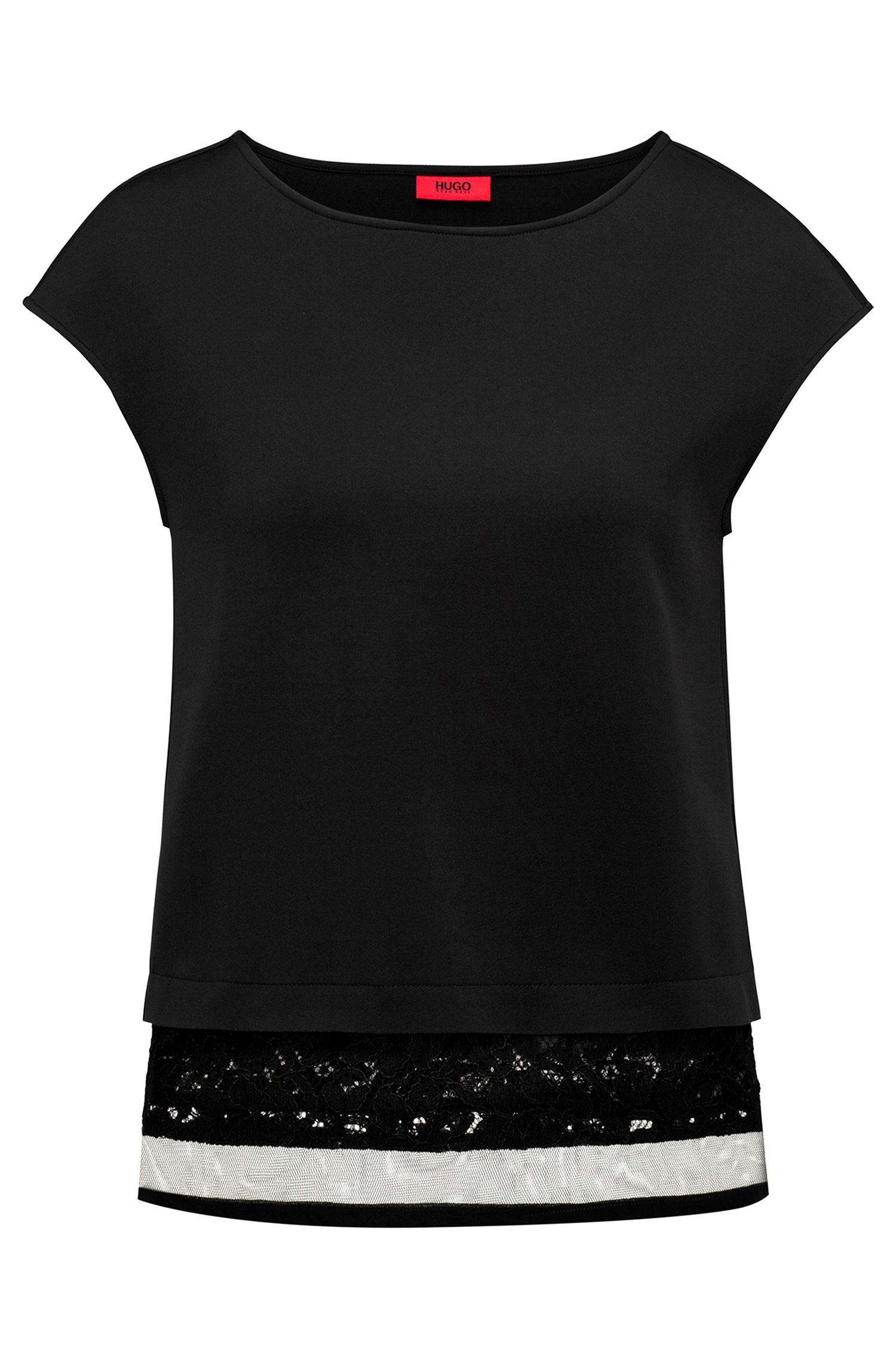 Regular-fit T-shirt in bonded jersey with lace