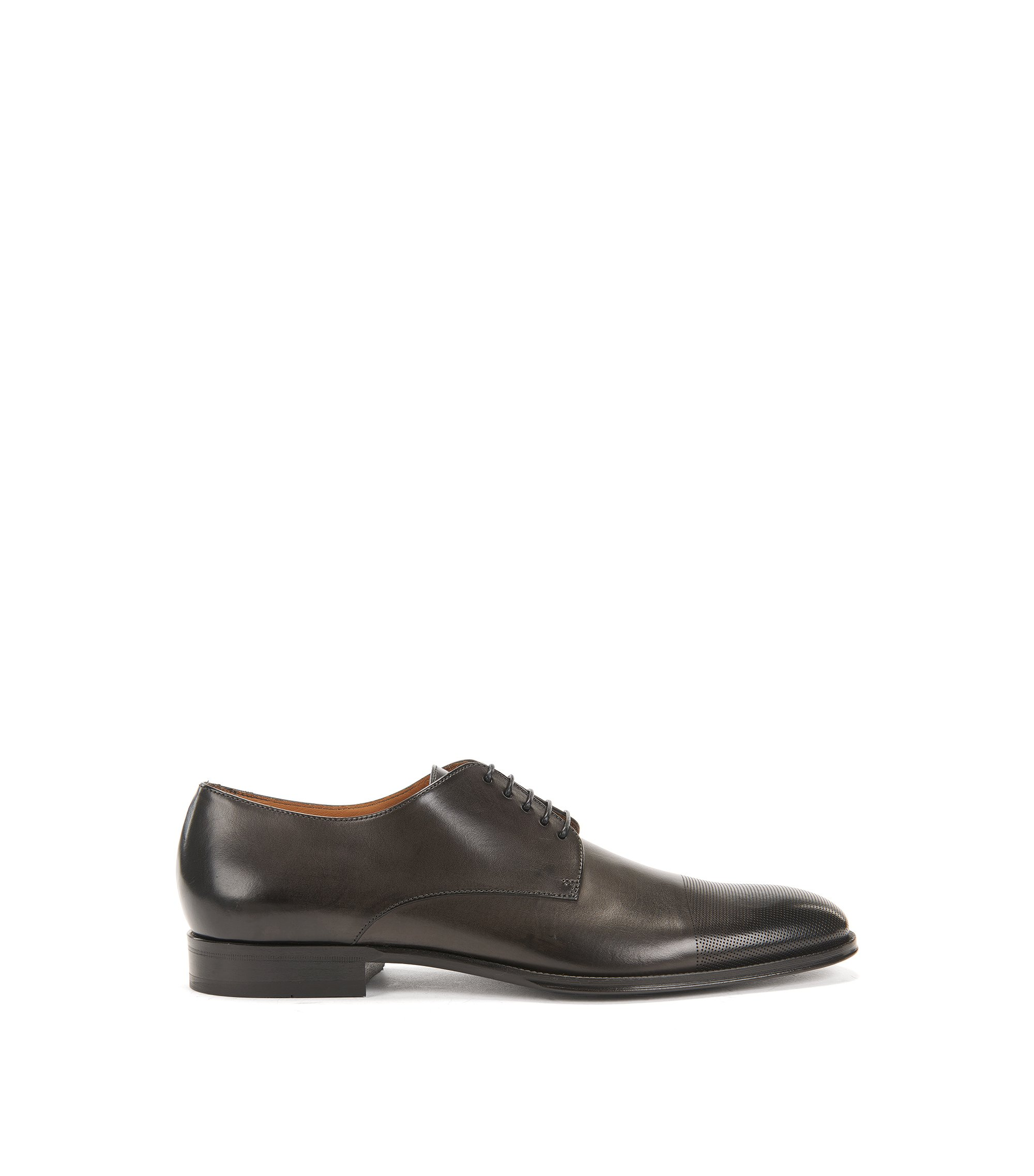 Leather Derby shoes with laser-cut toecap, Dark Grey