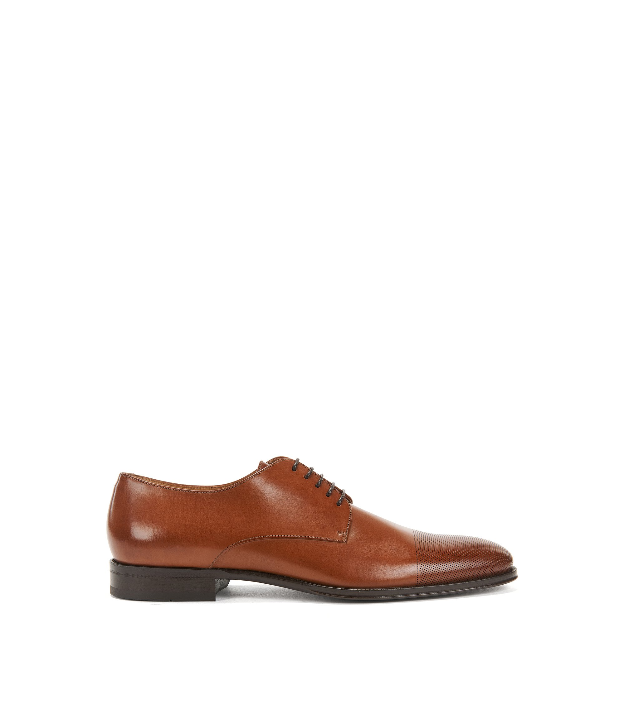Leather Derby shoes with laser-cut toecap, Brown