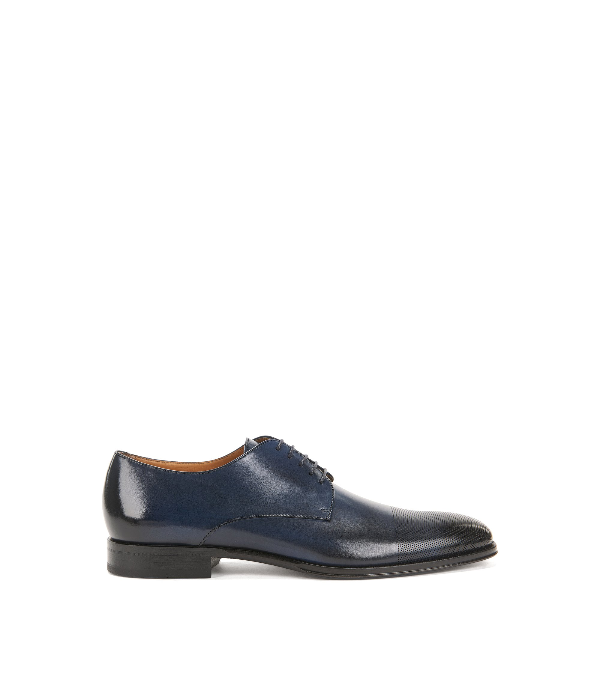 Leather Derby shoes with laser-cut toecap, Dark Blue