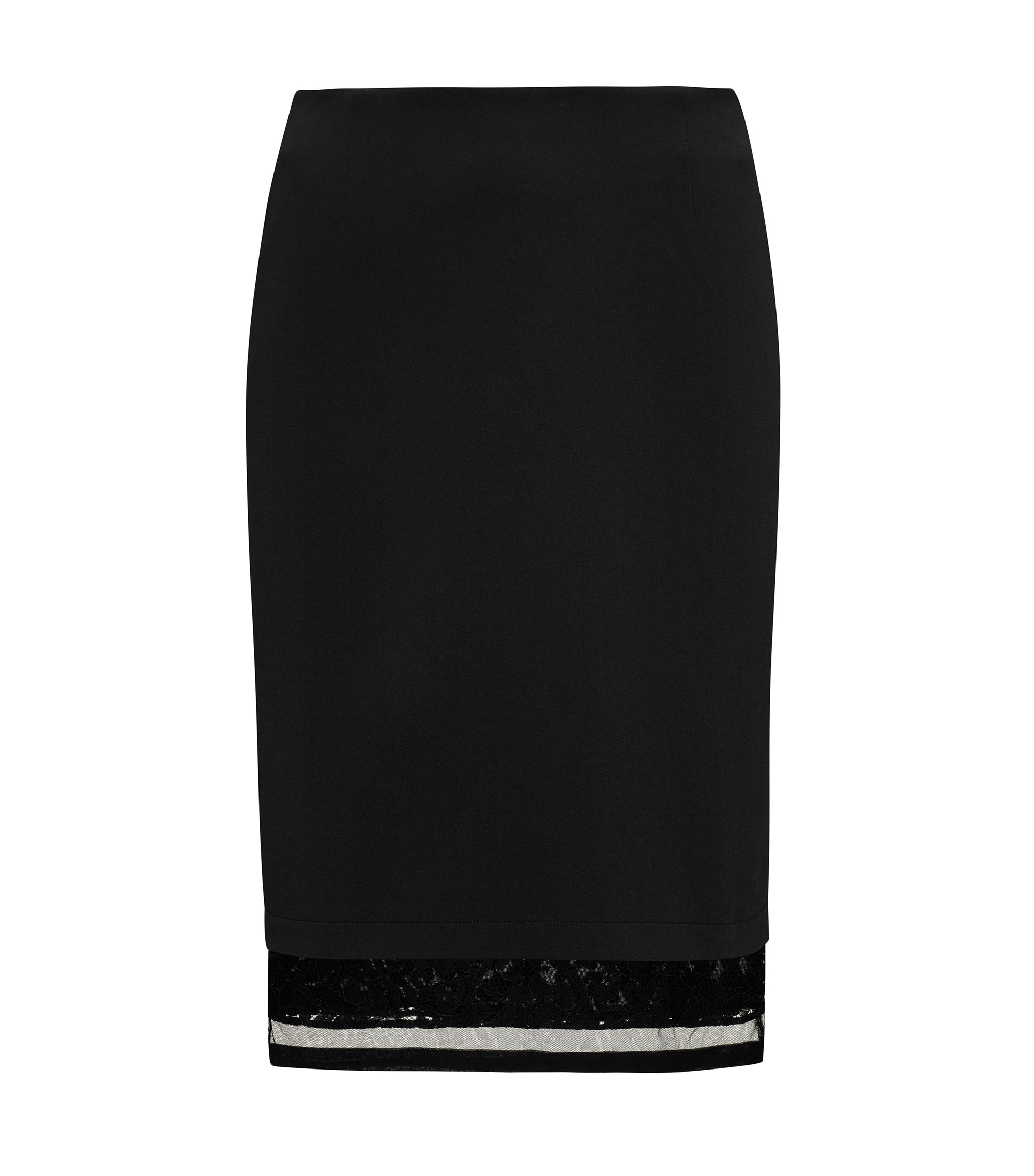 Bonded jersey knee-length skirt with extended lace and mesh hem, Black