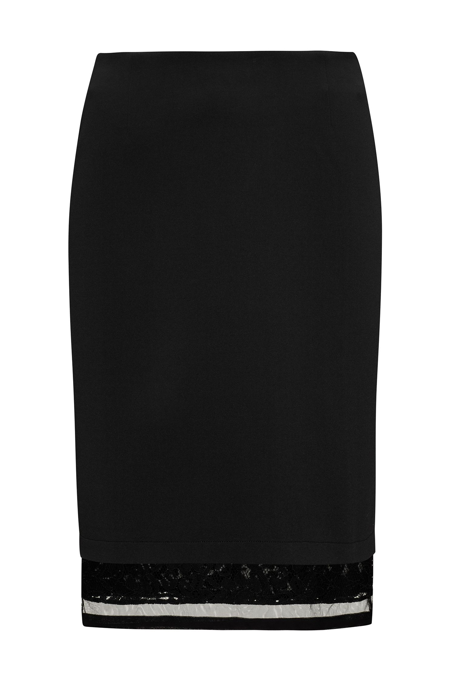 Bonded jersey knee-length skirt with extended lace and mesh hem
