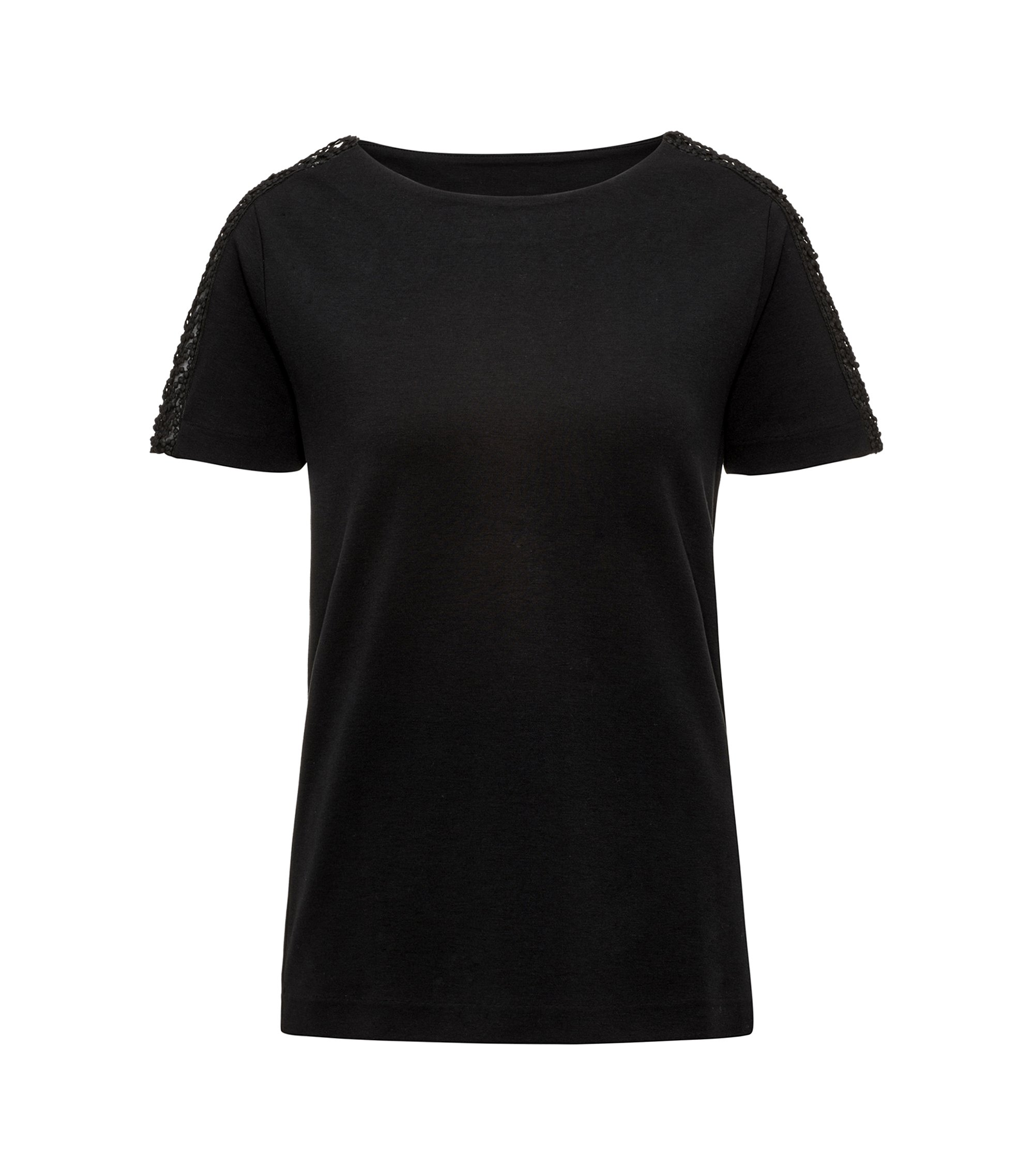 Regular-Fit T-Shirt aus elastischem Material-Mix , Schwarz