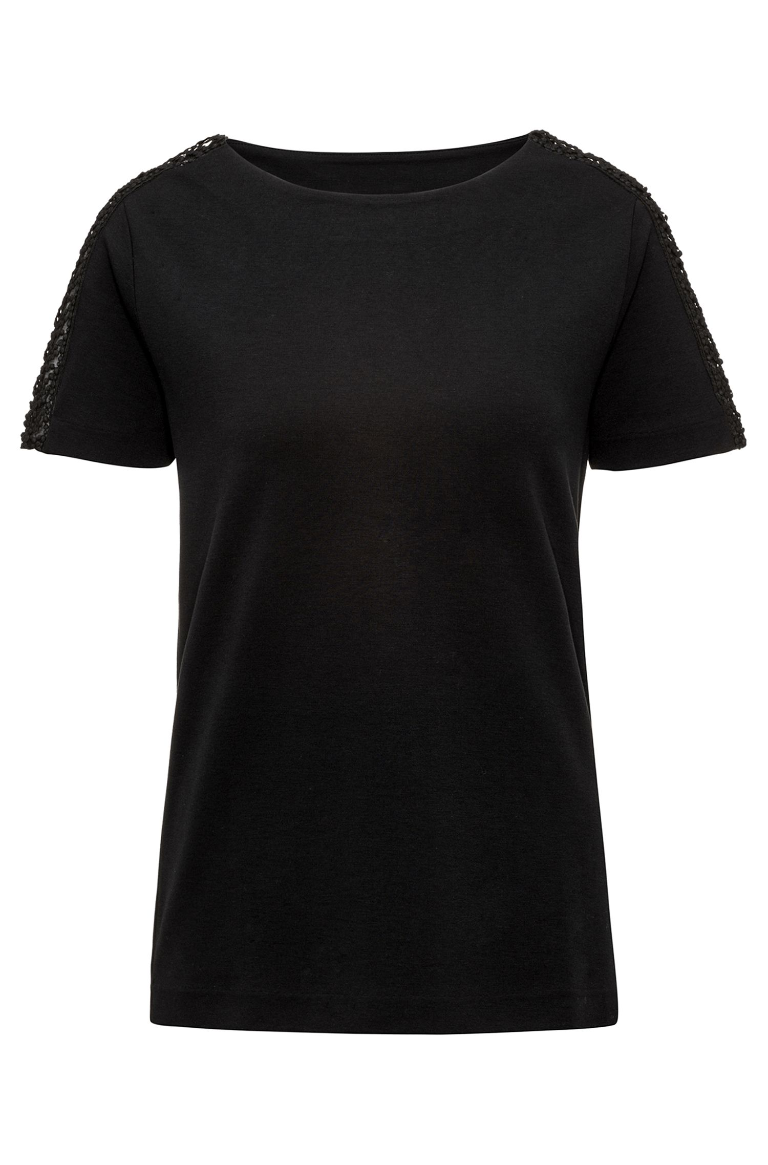 Regular-Fit T-Shirt aus elastischem Material-Mix