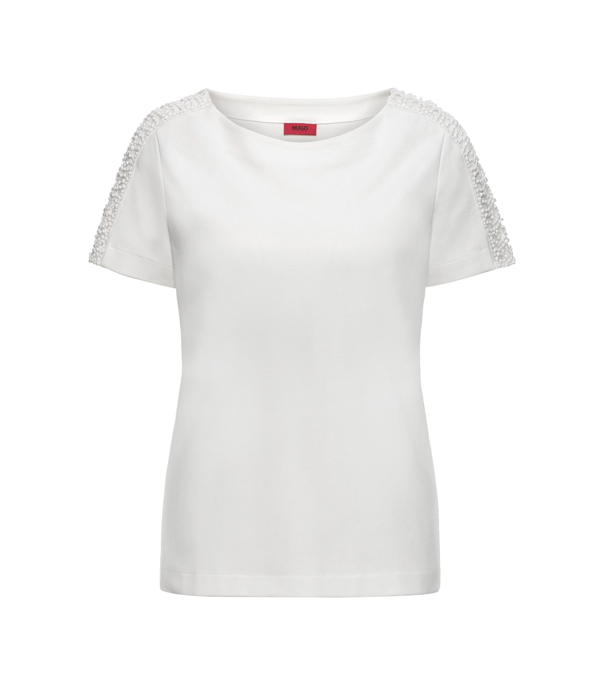 Regular-fit T-shirt in ponte roma , Natural