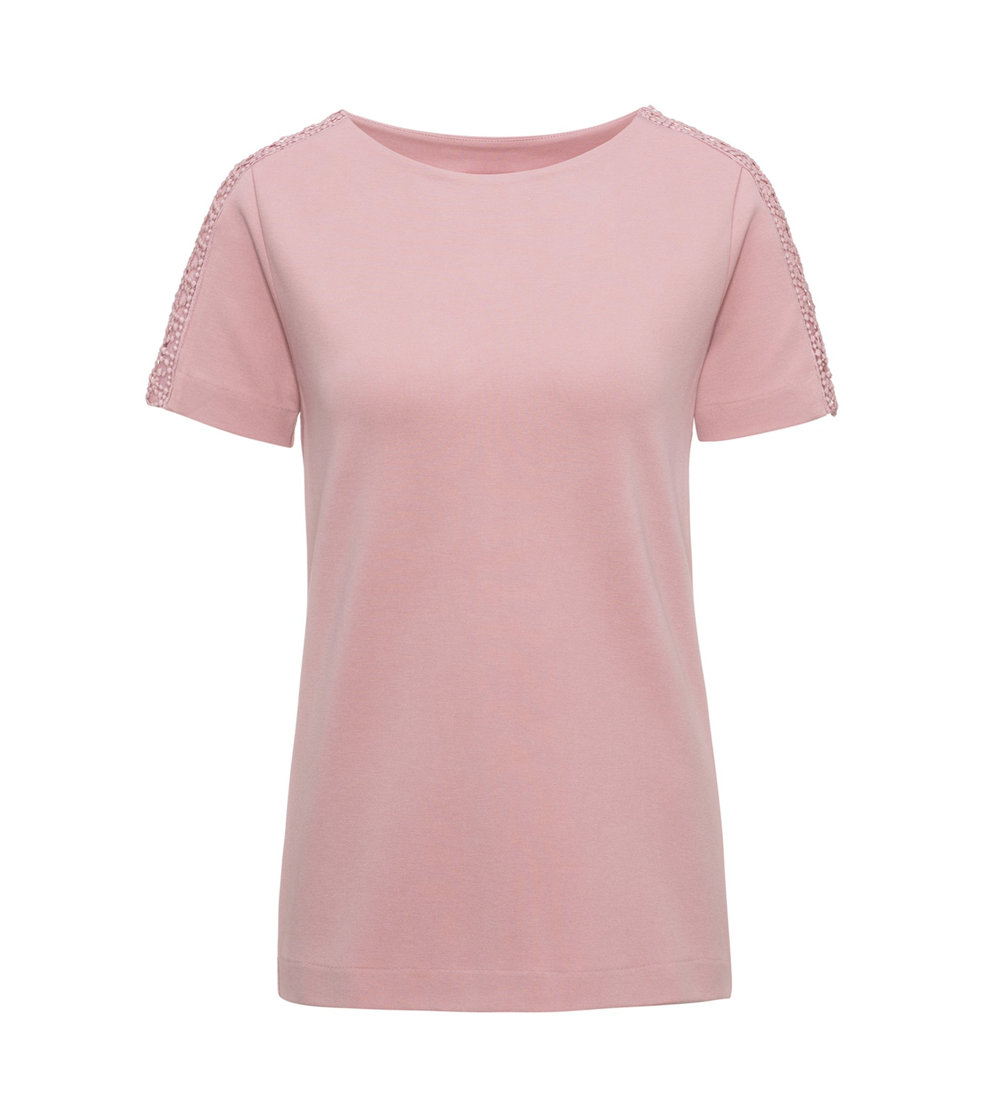 Camiseta regular fit en ponte roma , Rosa claro