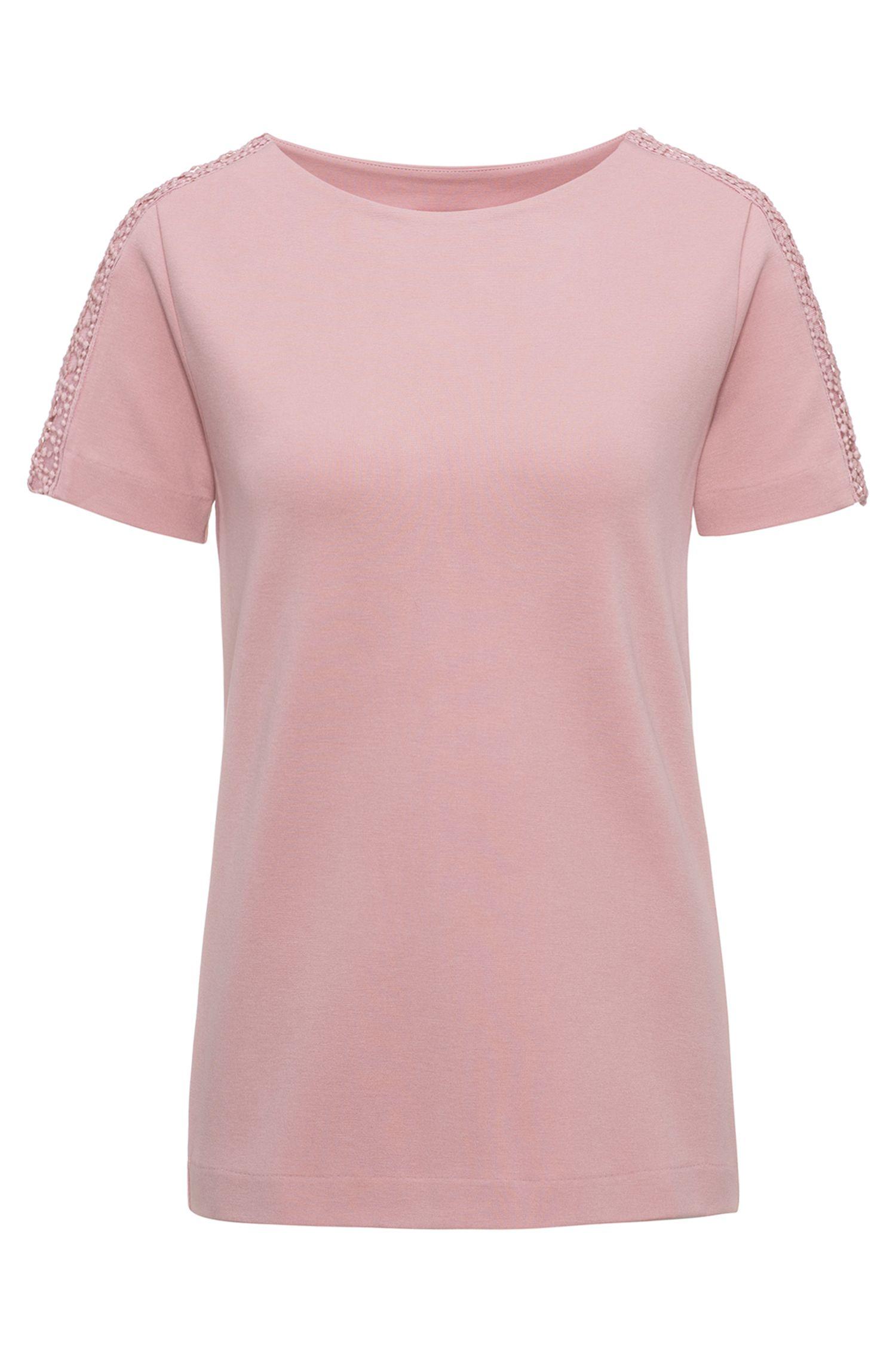 Regular-Fit T-Shirt aus elastischem Material-Mix