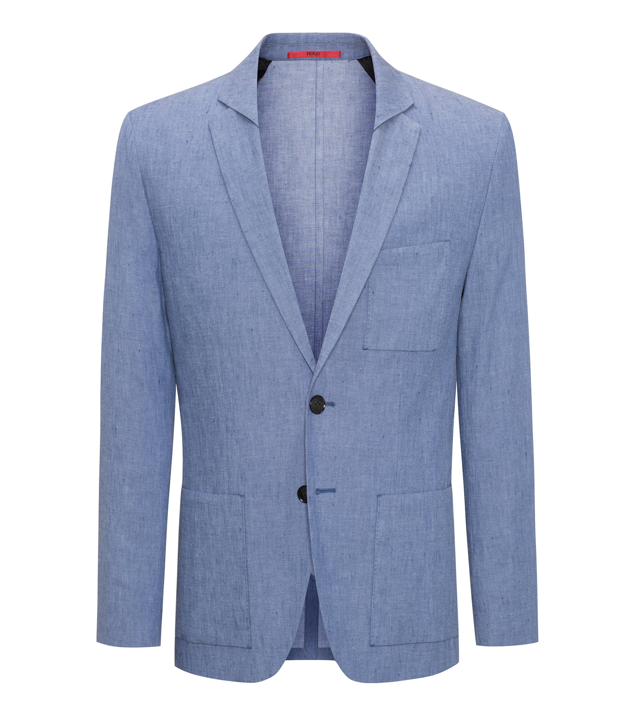 Slim-fit blazer in linen-blend twill, Turquoise
