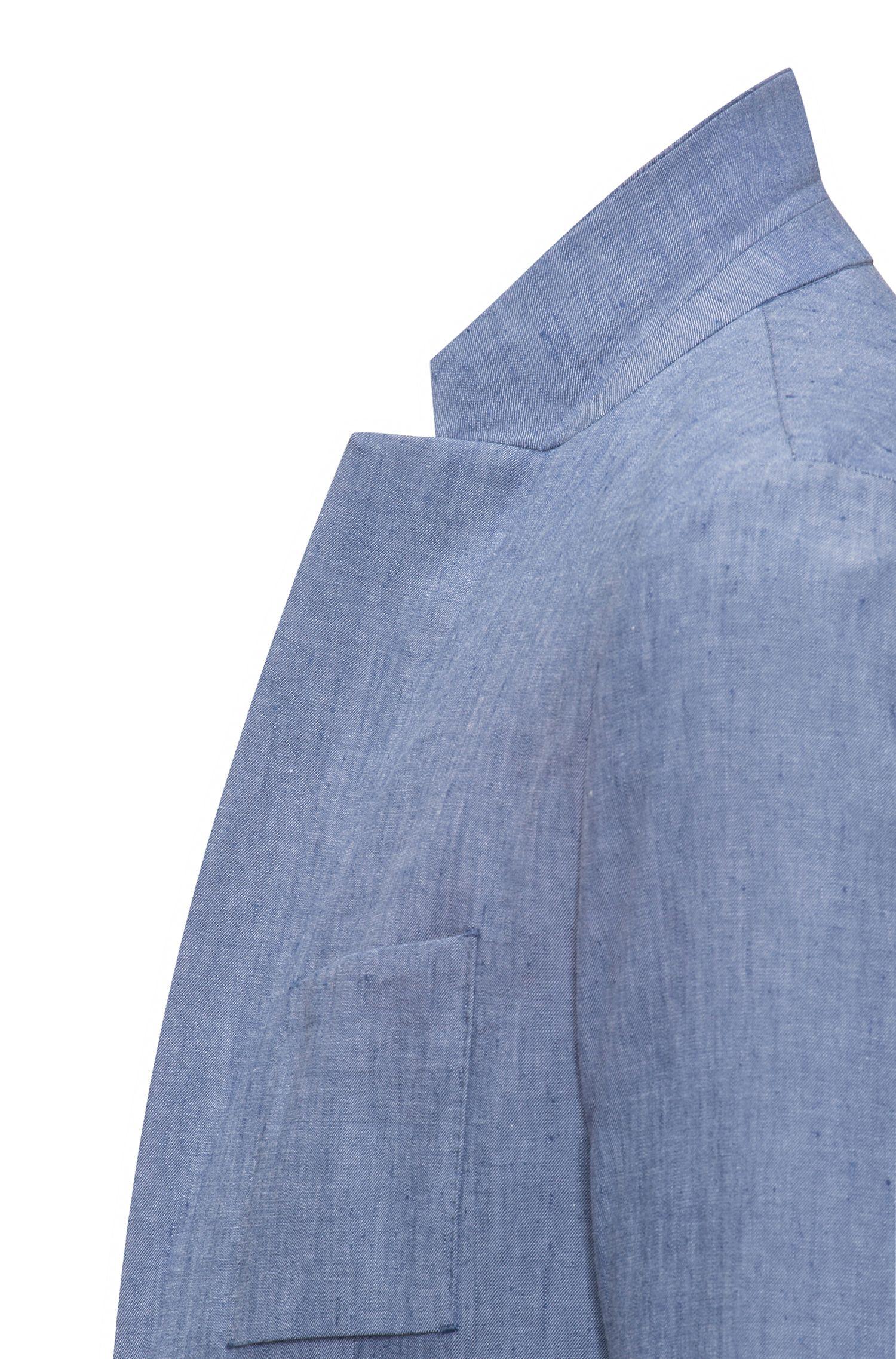 Slim-fit blazer van twill in een linnenmix
