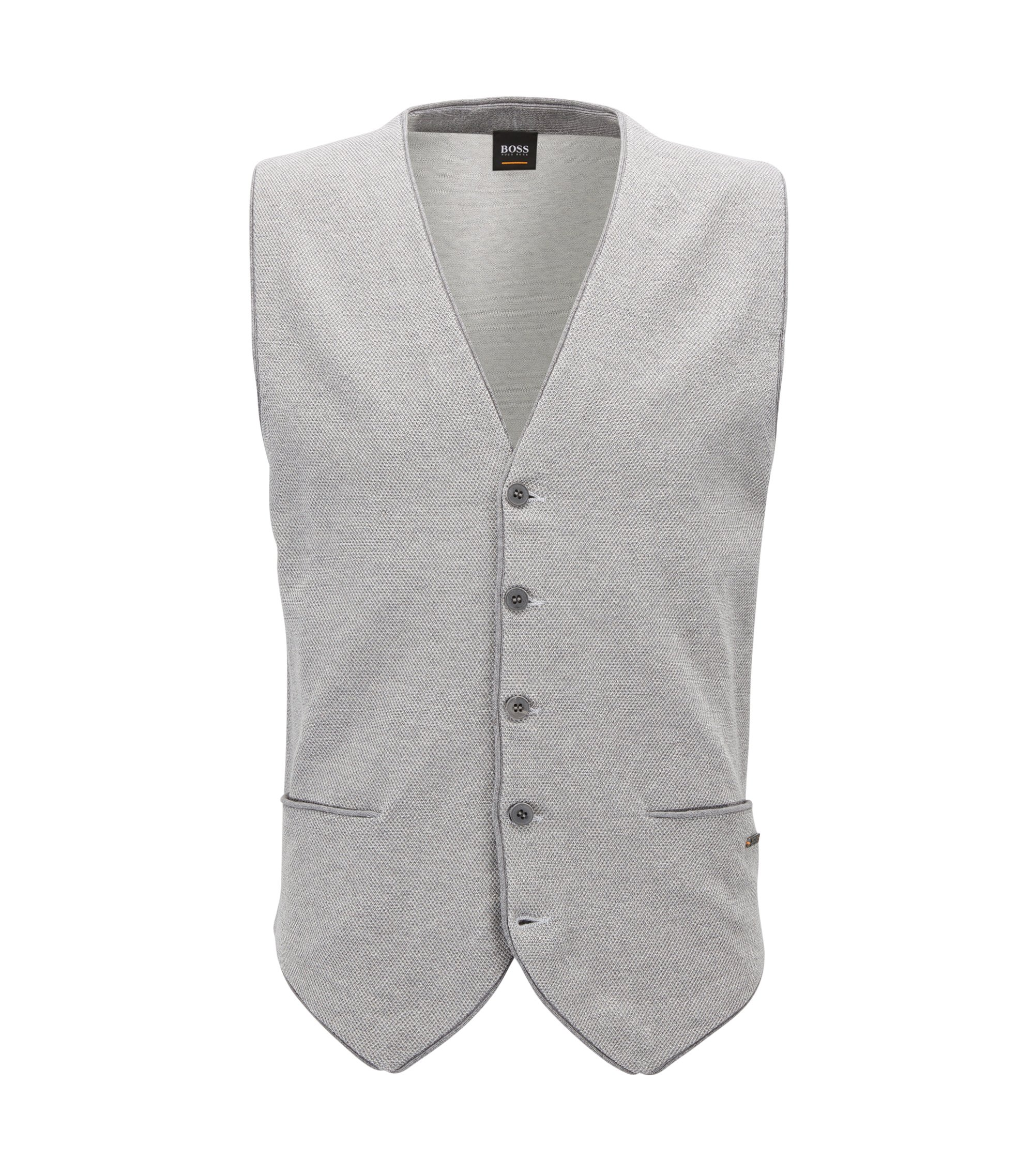 Lightweight knitted button-up waistcoat in cotton blended with silk, Light Grey