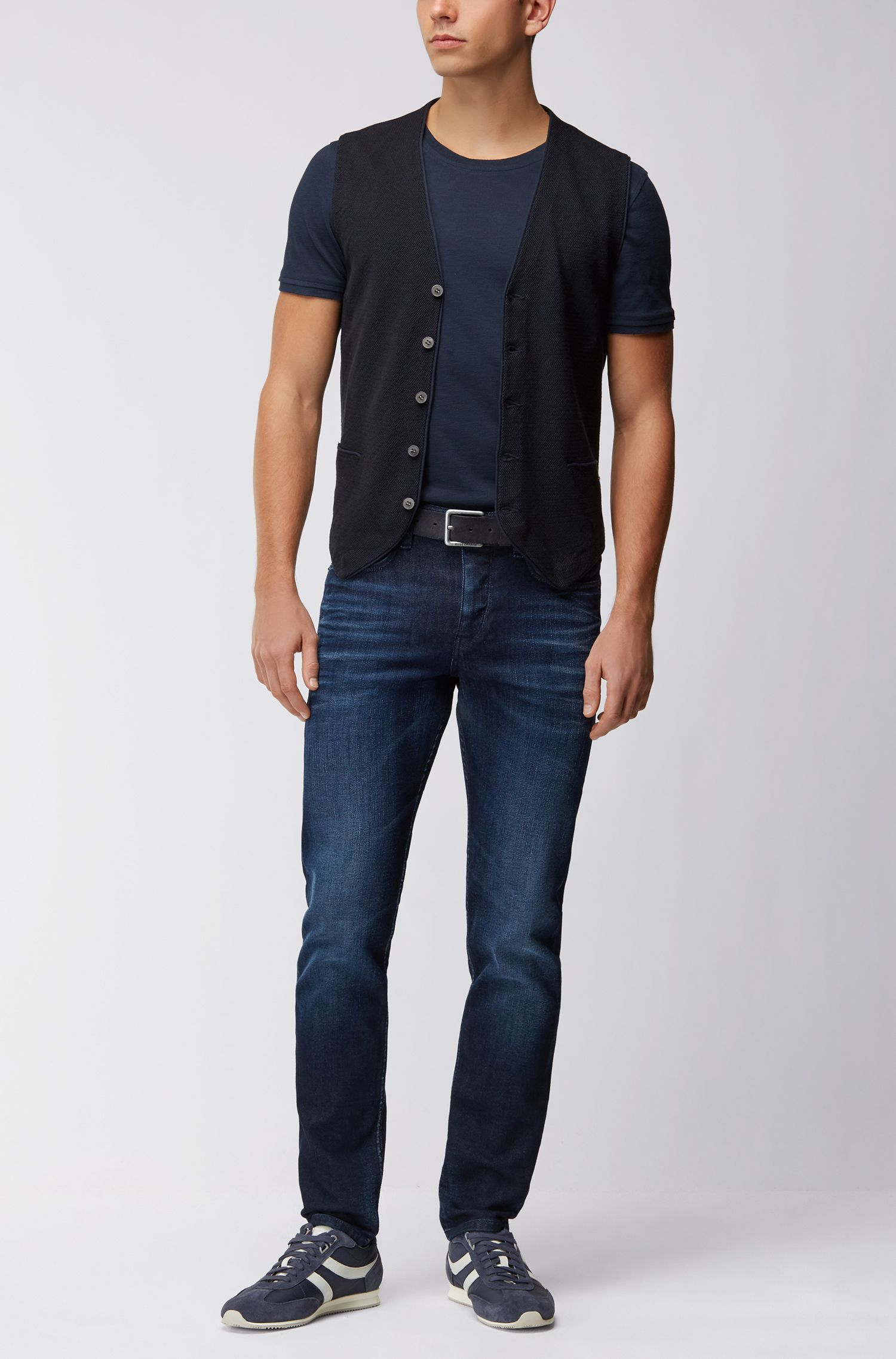 Lightweight knitted button-up waistcoat in cotton blended with silk