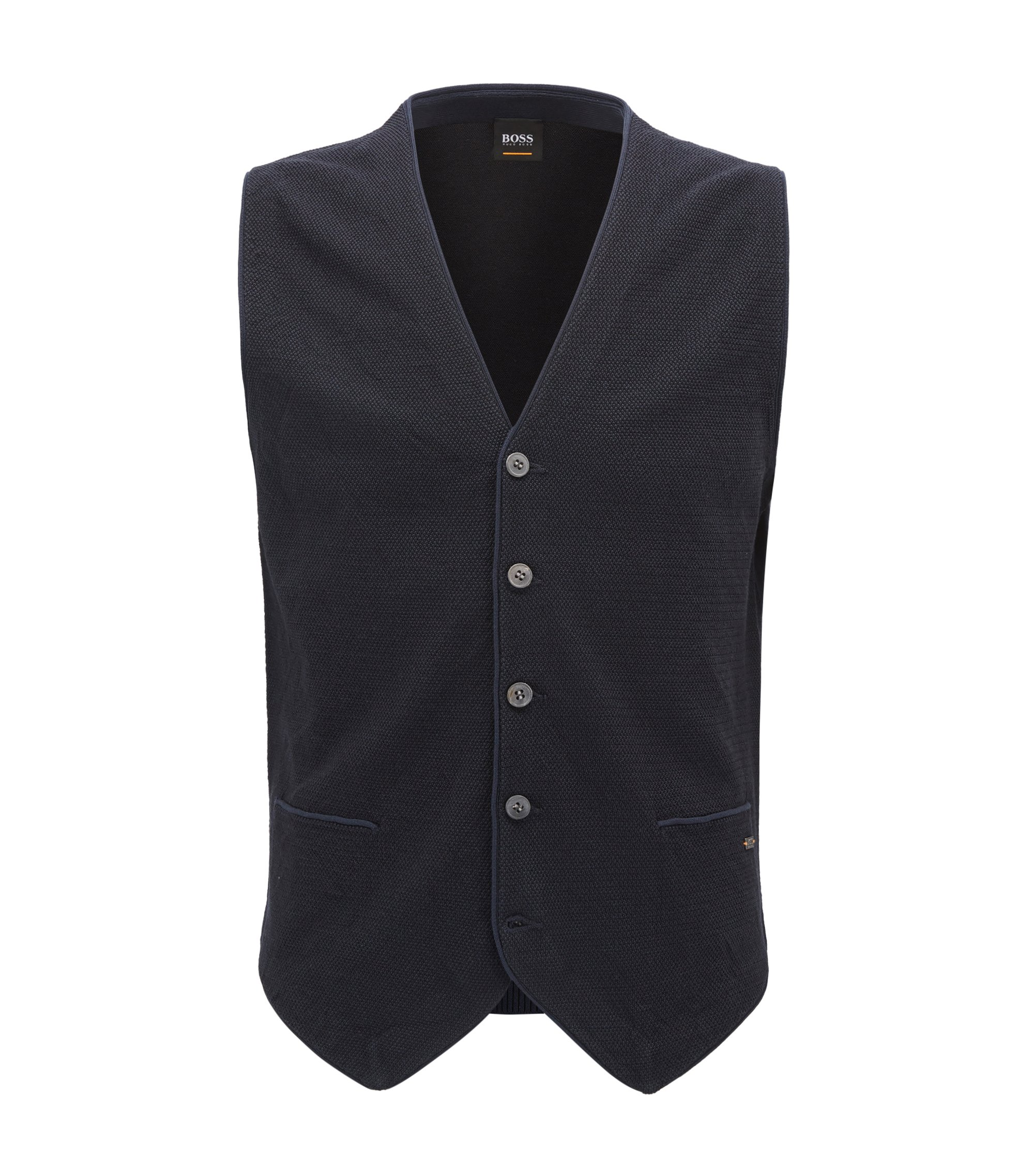 Lightweight knitted button-up waistcoat in cotton blended with silk, Dark Blue