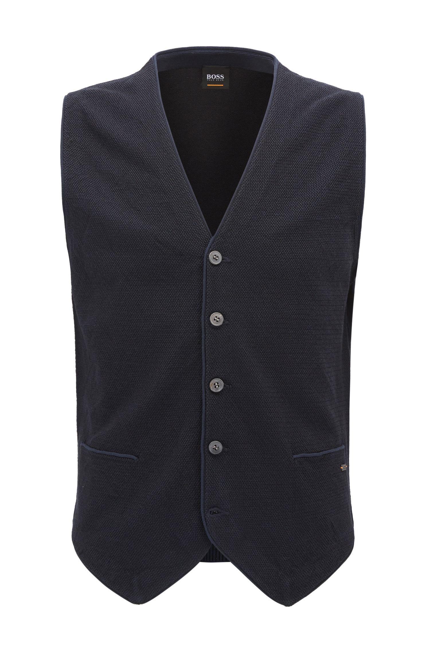 Gilet con bottoni in maglia leggera in misto cotone-seta