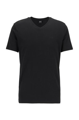 T-shirt con scollo a V e logo in cotone tinto in filo, Nero