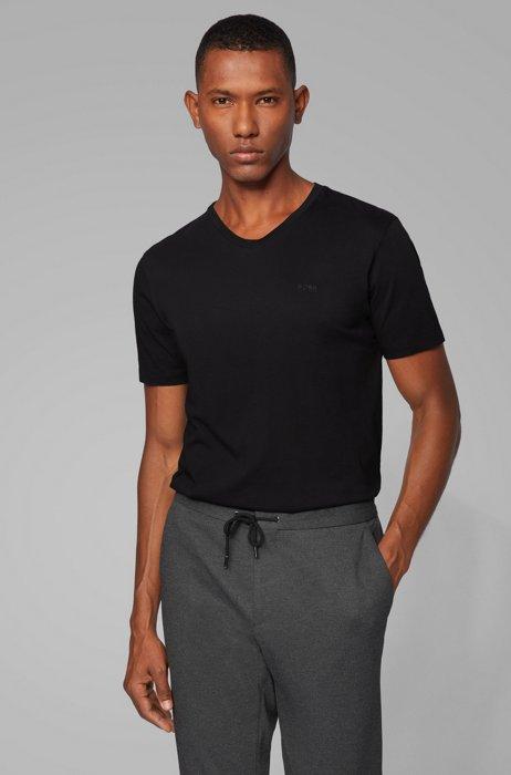 Camiseta con cuello en pico y logo en algodón teñido en hilo, Negro